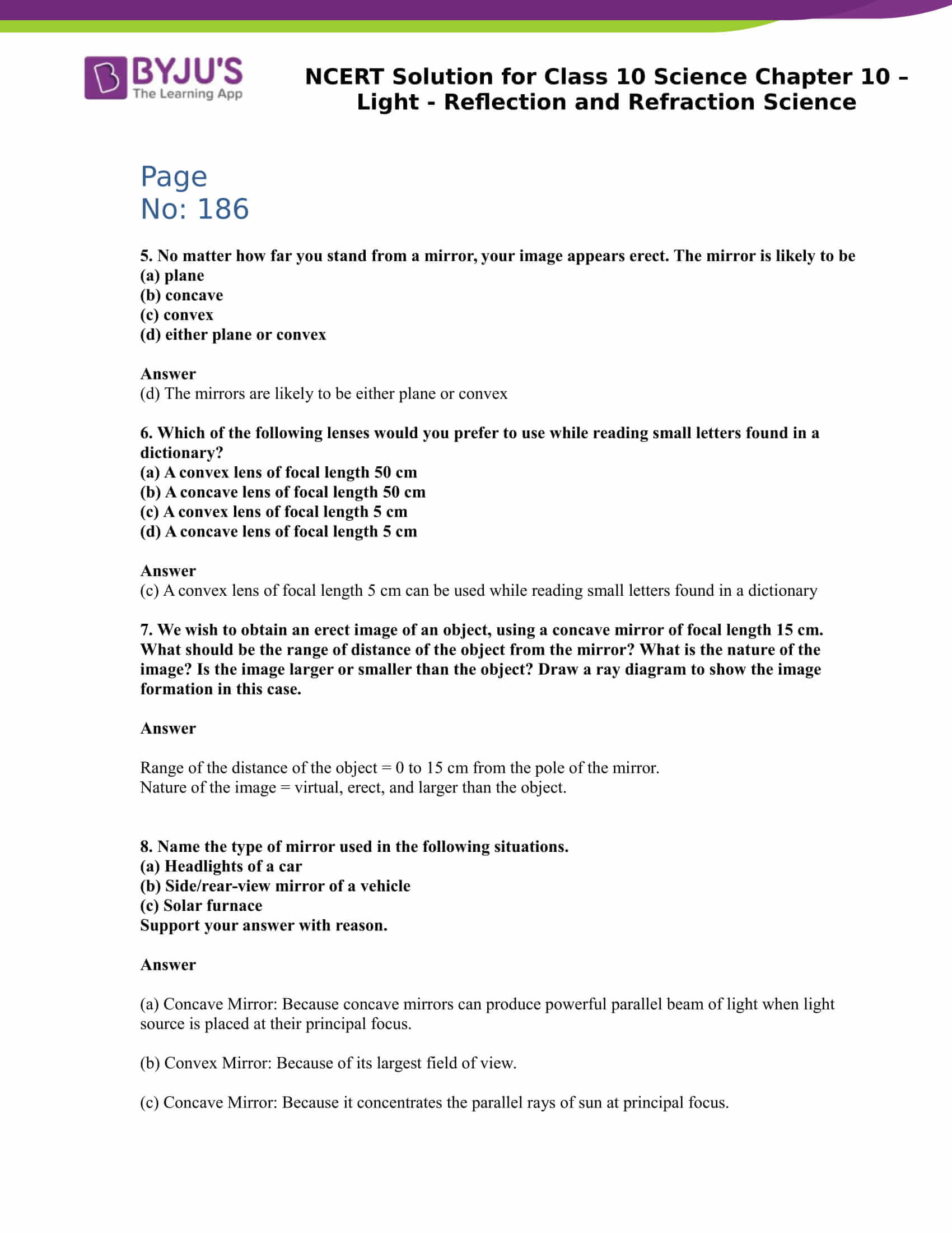 NCERT Solution for CBSE Class 10 Science Chapter 10 Light Reflection and Refraction Science Part 7