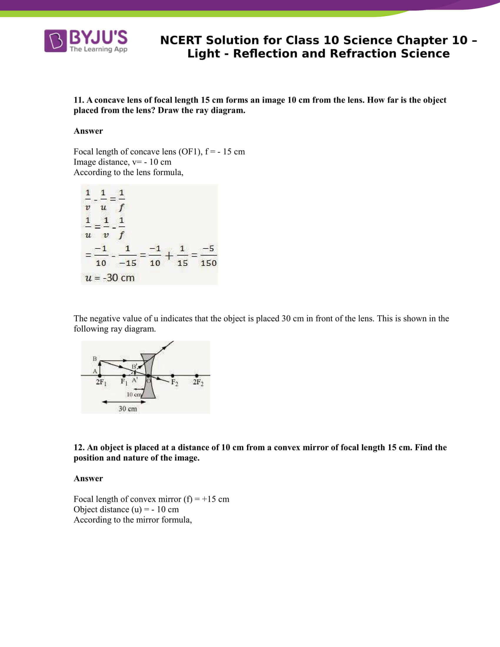 NCERT Solution for CBSE Class 10 Science Chapter 10 Light Reflection and Refraction Science Part 9