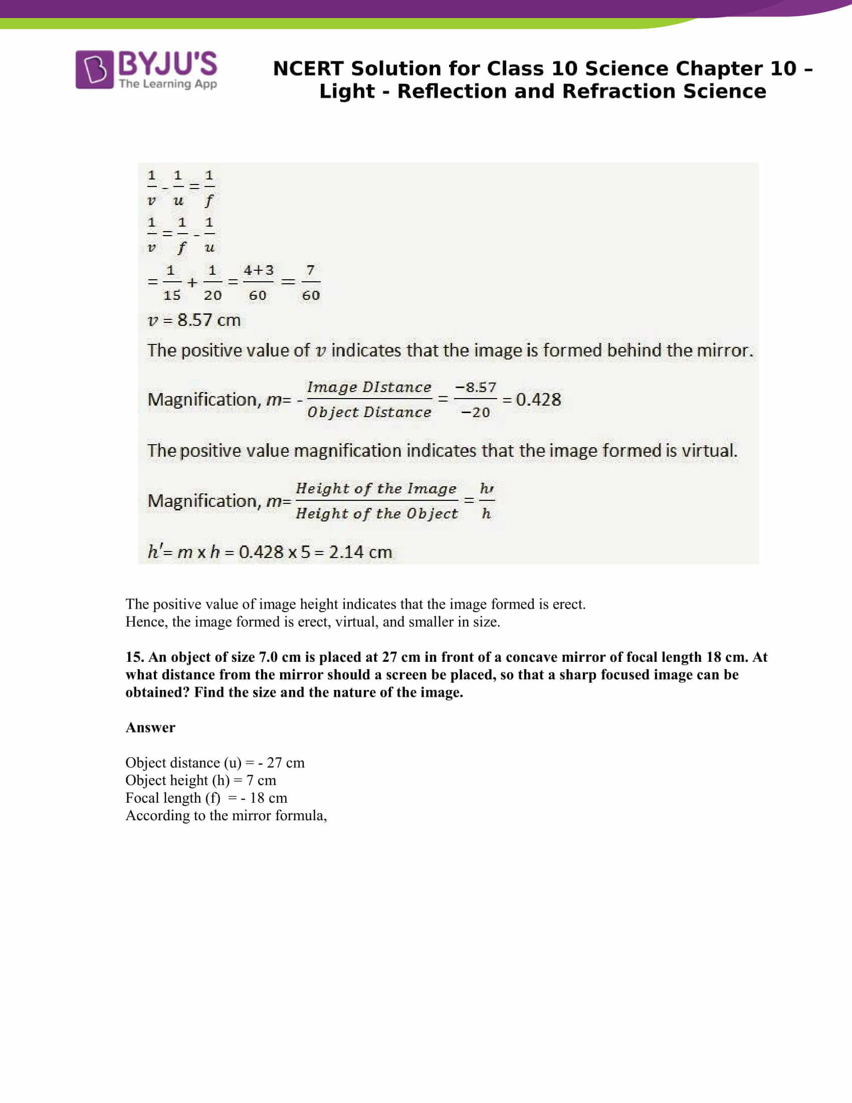 NCERT Solution for CBSE Class 10 Science Chapter 10 Light Reflection and Refraction Science Part 11
