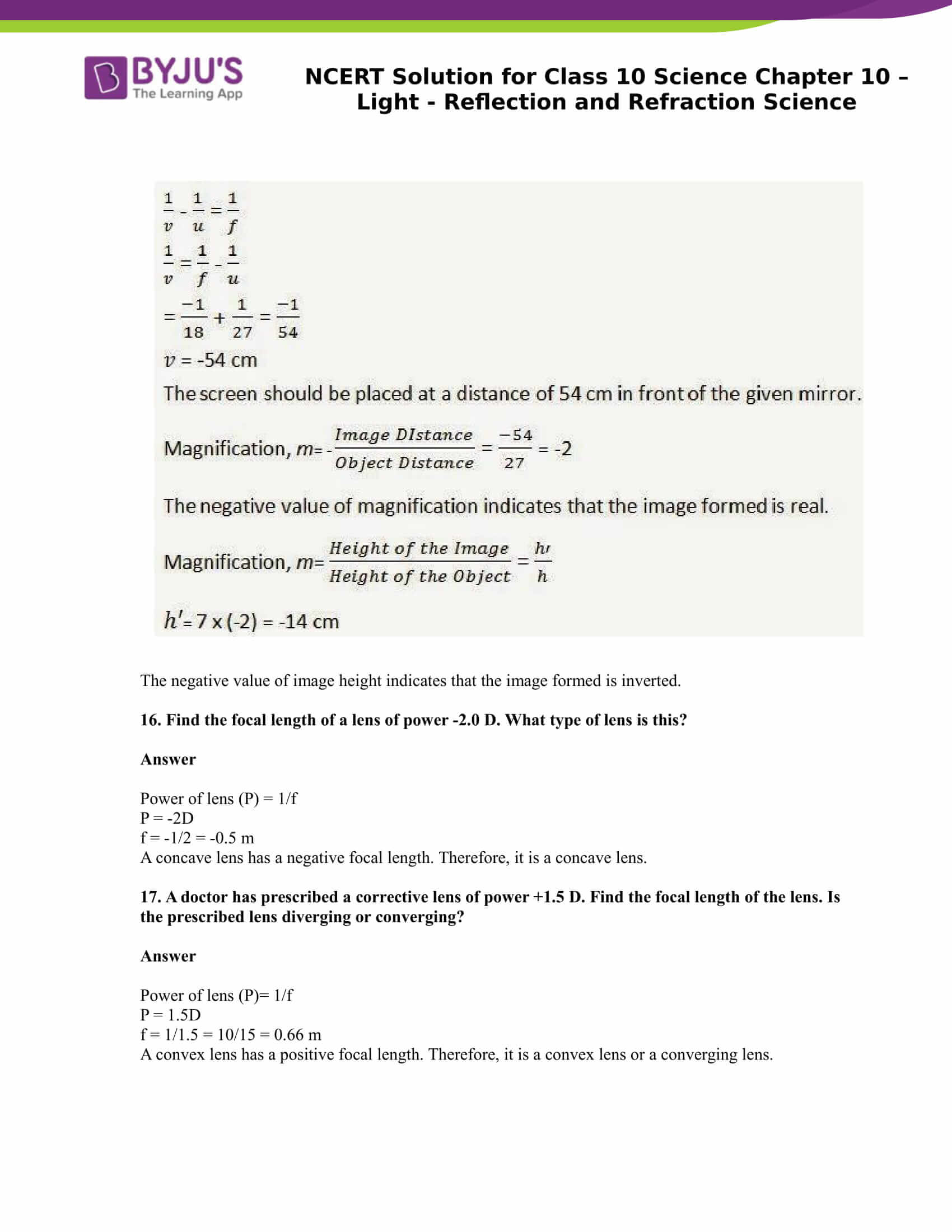 NCERT Solution for CBSE Class 10 Science Chapter 10 Light Reflection and Refraction Science Part 12
