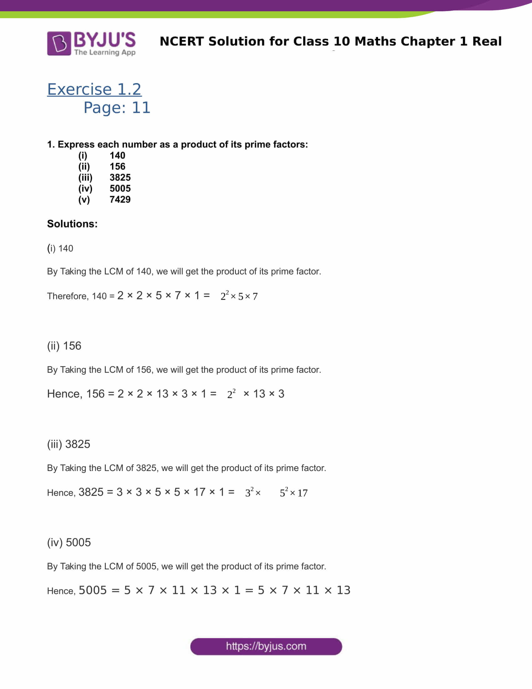 NCERT Solutions for Class 10 Maths Exercise 1.2 Chapter 1 ...