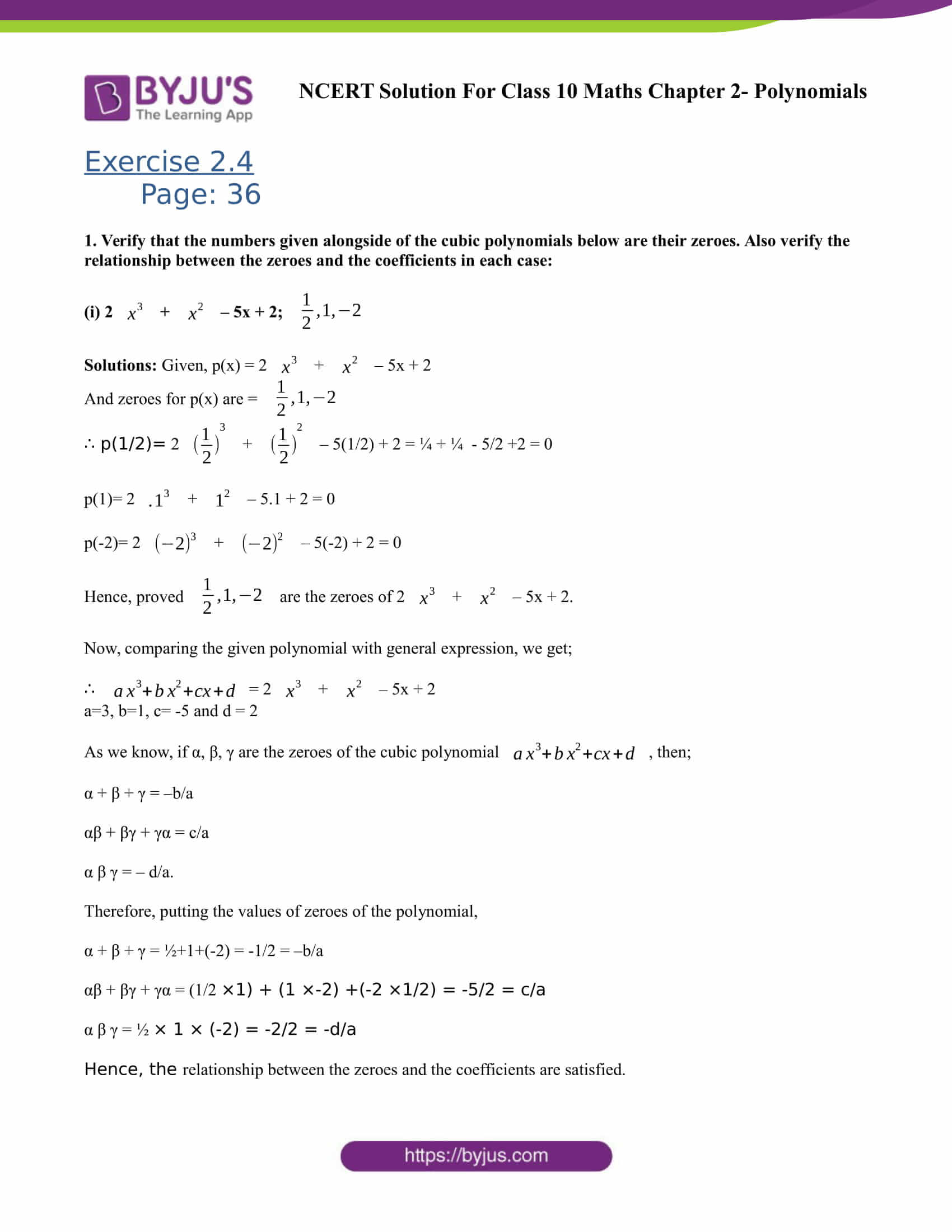 NCERT Solutions for Class 10 Maths Exercise 2 4 Chapter 2