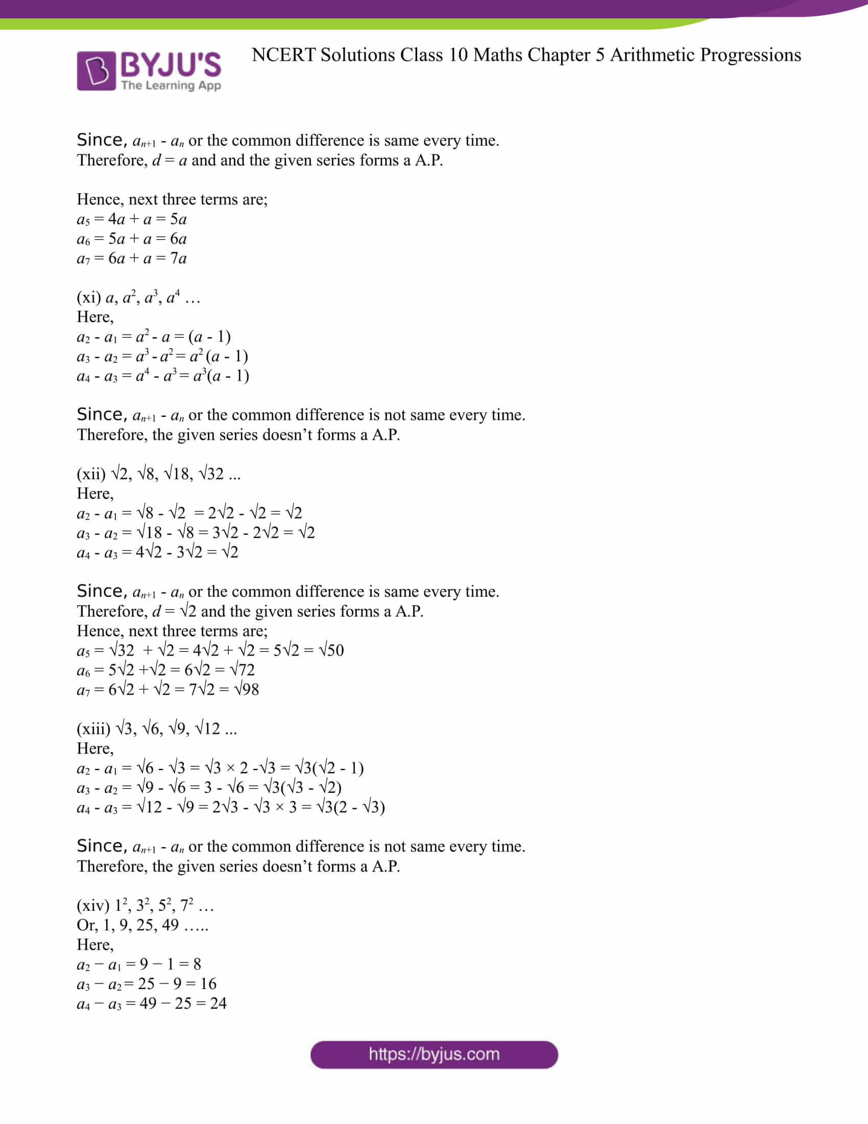 NCERT Solution for CBSE class 10 Maths Chapter 5 Arithmetic Progressions Excercise 5.1 Part 8