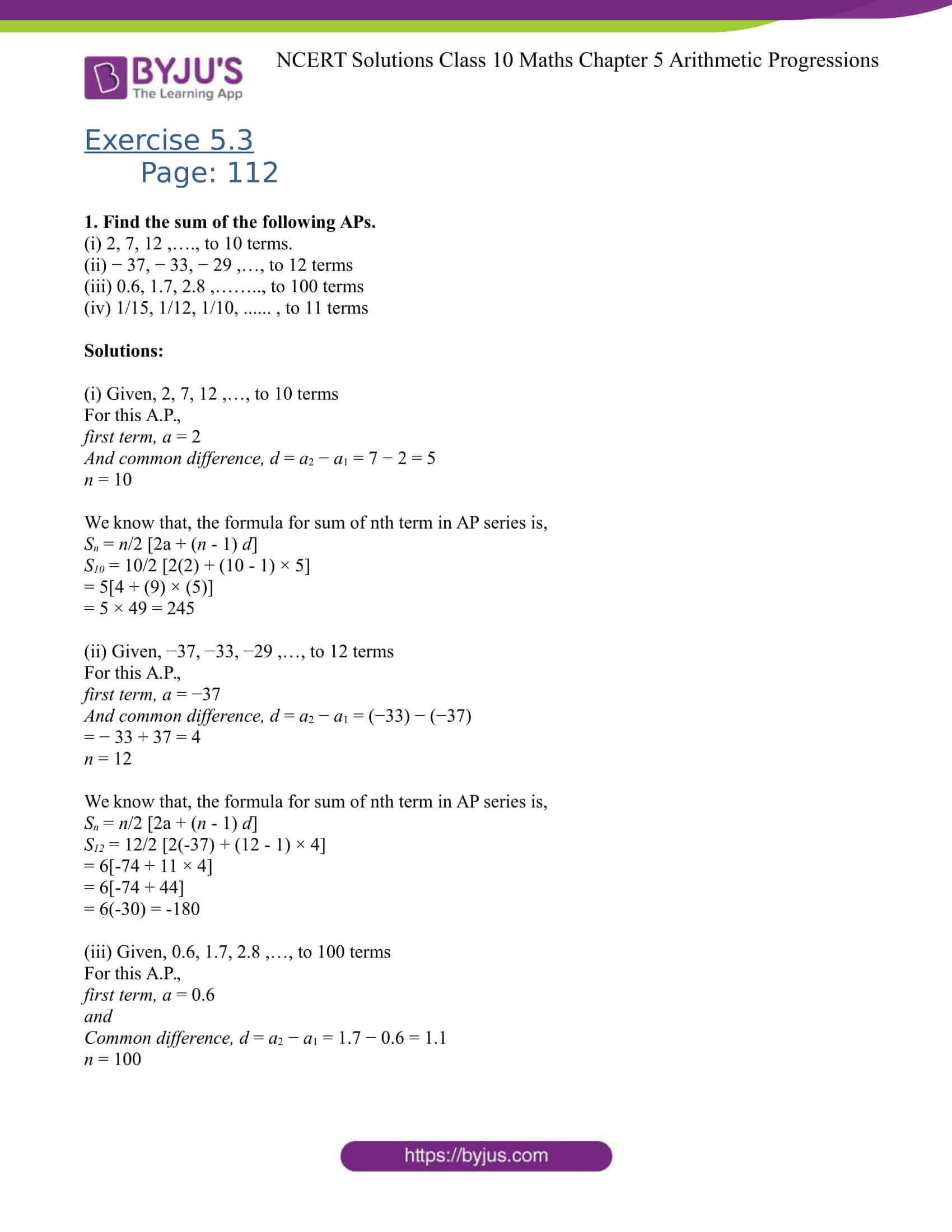NCERT Solutions for Class 10 Maths Exercise 5 3 Chapter 5