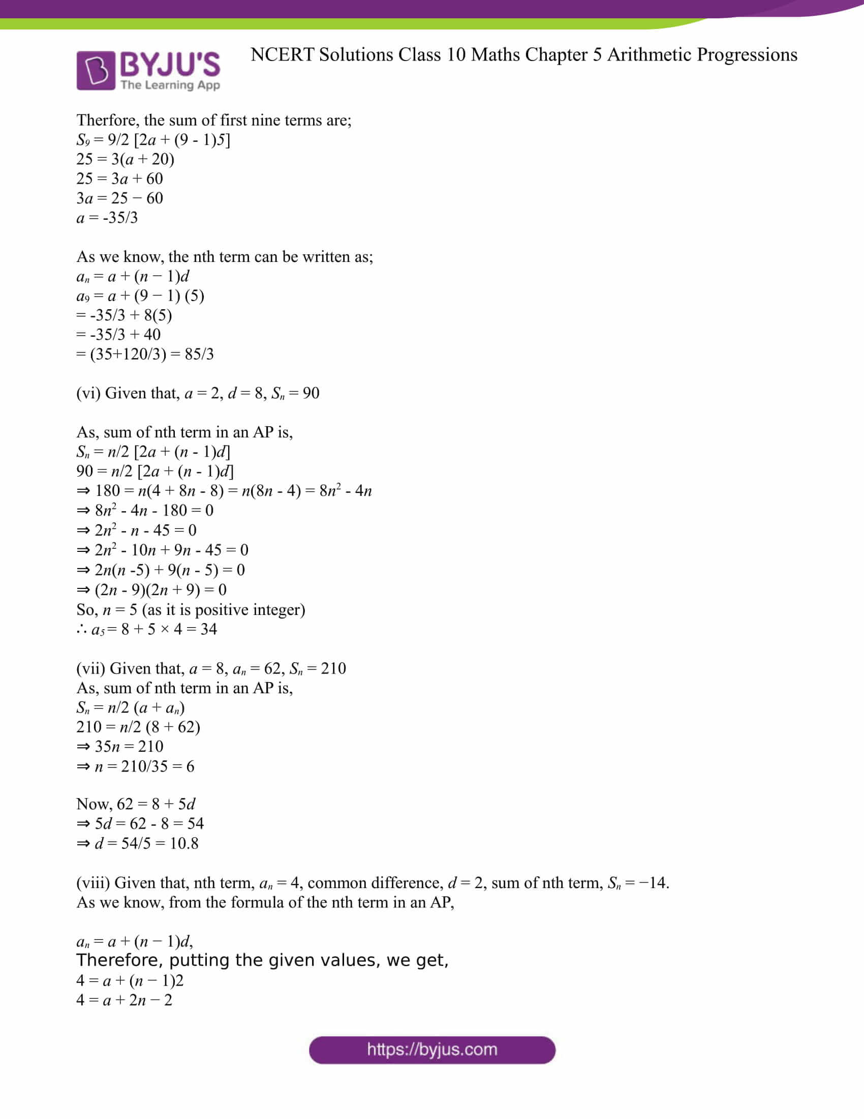 NCERT Solution for CBSE class 10 Maths Chapter 5 Arithmetic Progressions Excercise 5.3 Part 06