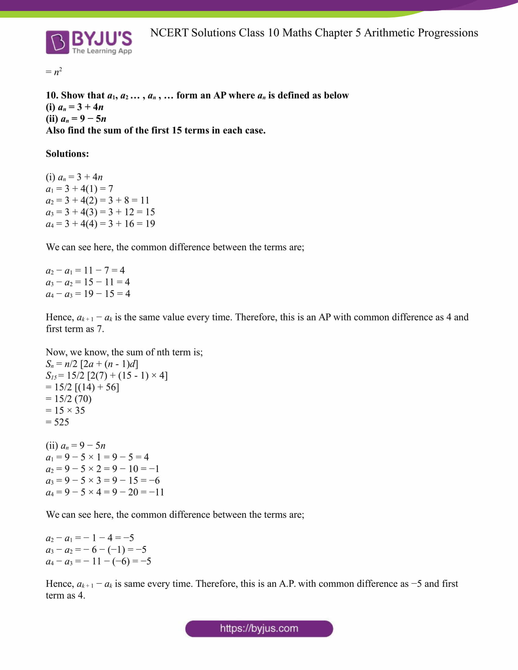 NCERT Solution for CBSE class 10 Maths Chapter 5 Arithmetic Progressions Excercise 5.3 Part 11