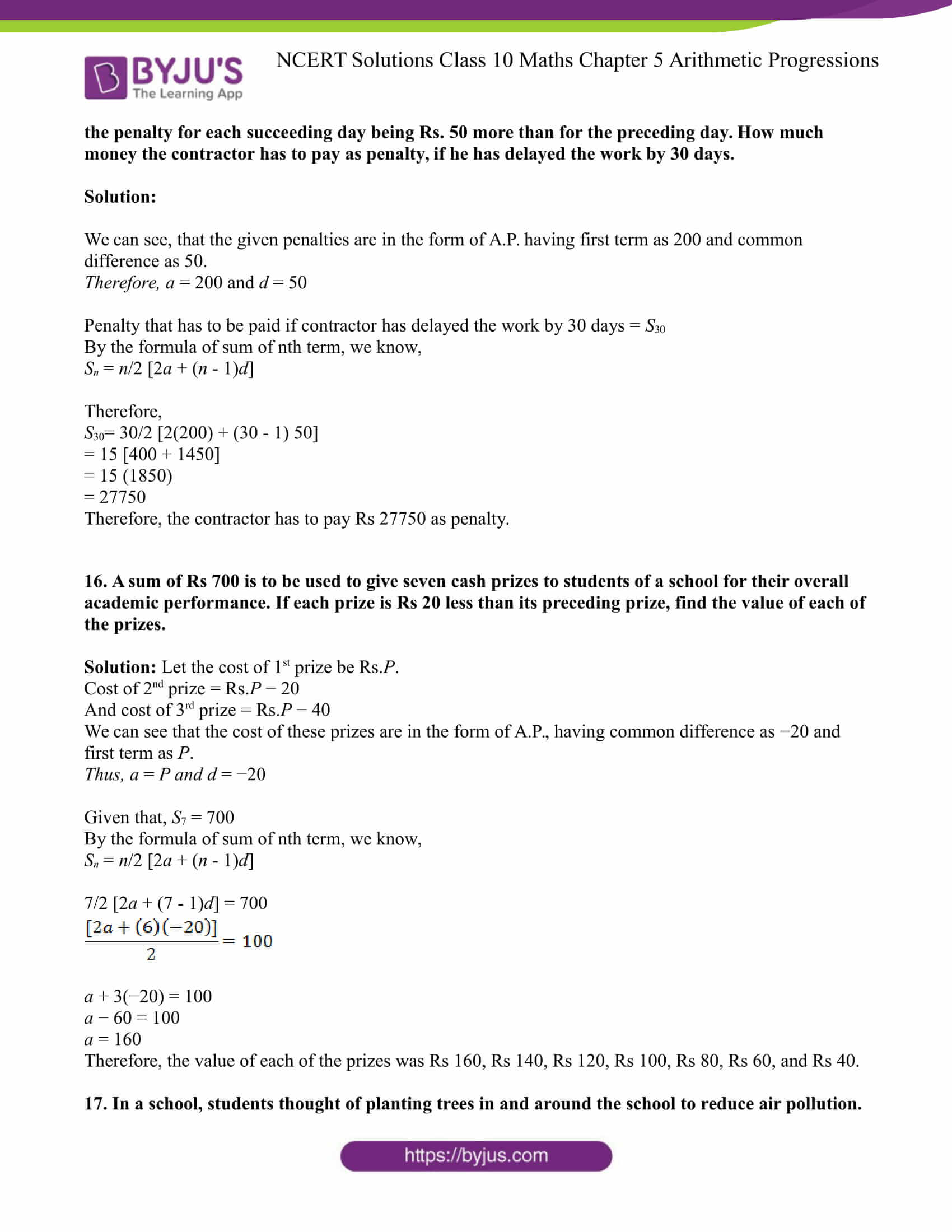 NCERT Solution for CBSE class 10 Maths Chapter 5 Arithmetic Progressions Excercise 5.3 Part 14