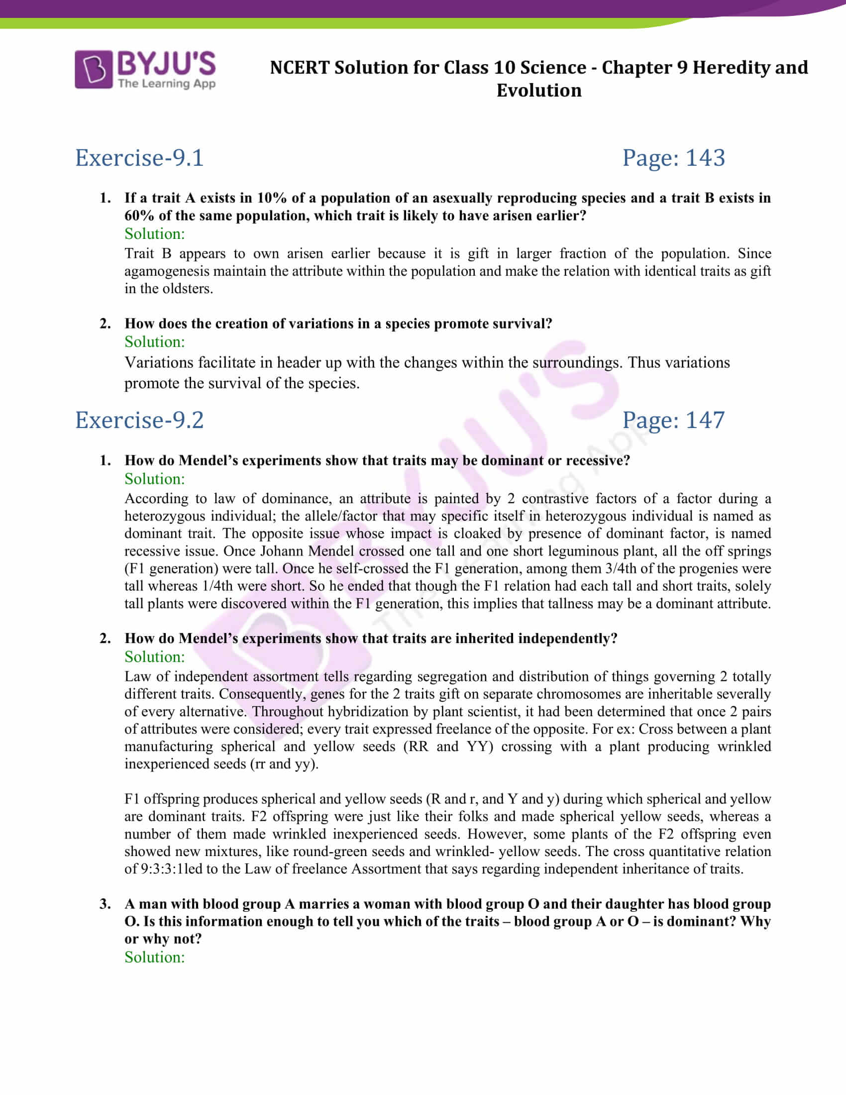 NCERT Solutions Class 10 Science Chapter 9 Heredity and