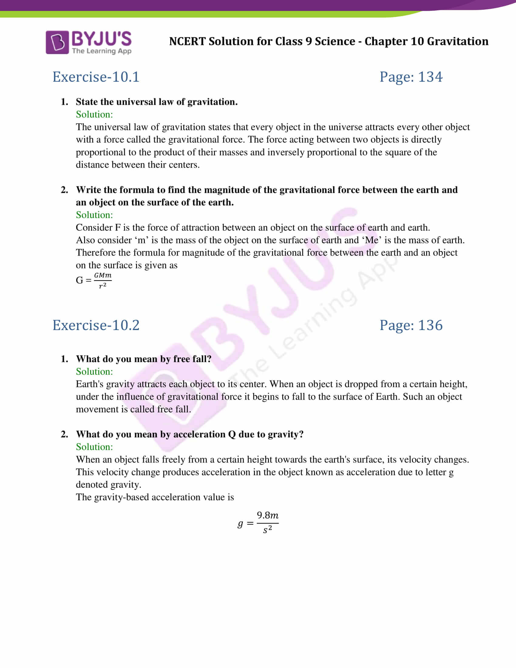 NCERT Solutions Class 9 Science Chapter 10 Gravitation
