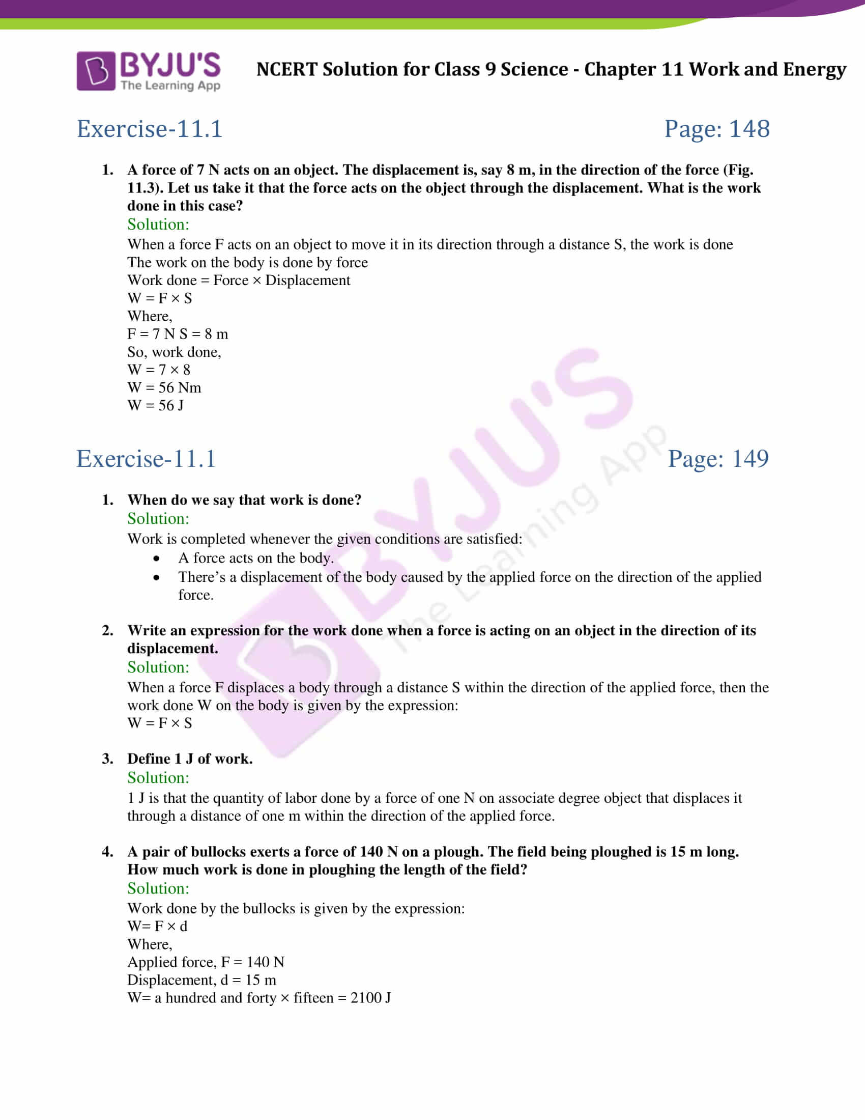 NCERT Solutions Class 9 Science Chapter 11 Work And Energy - Updated ...