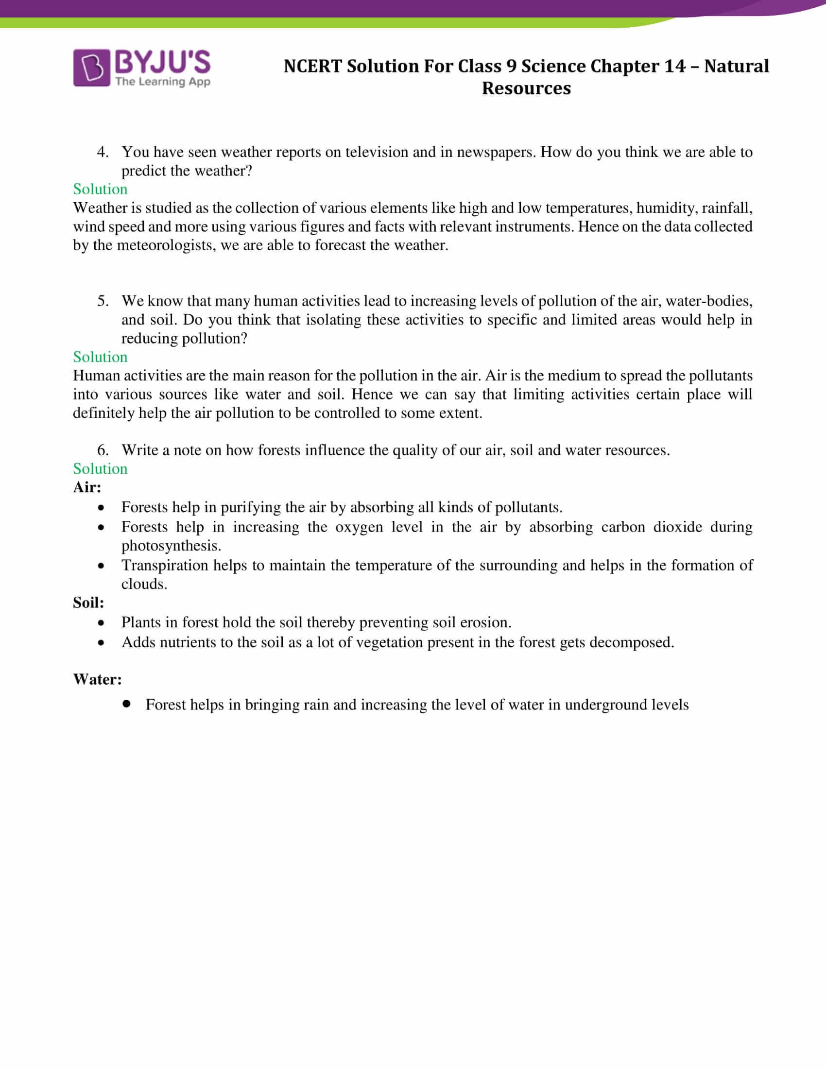 NCERT Solutions Class 9 Science Chapter 14 Natural ...