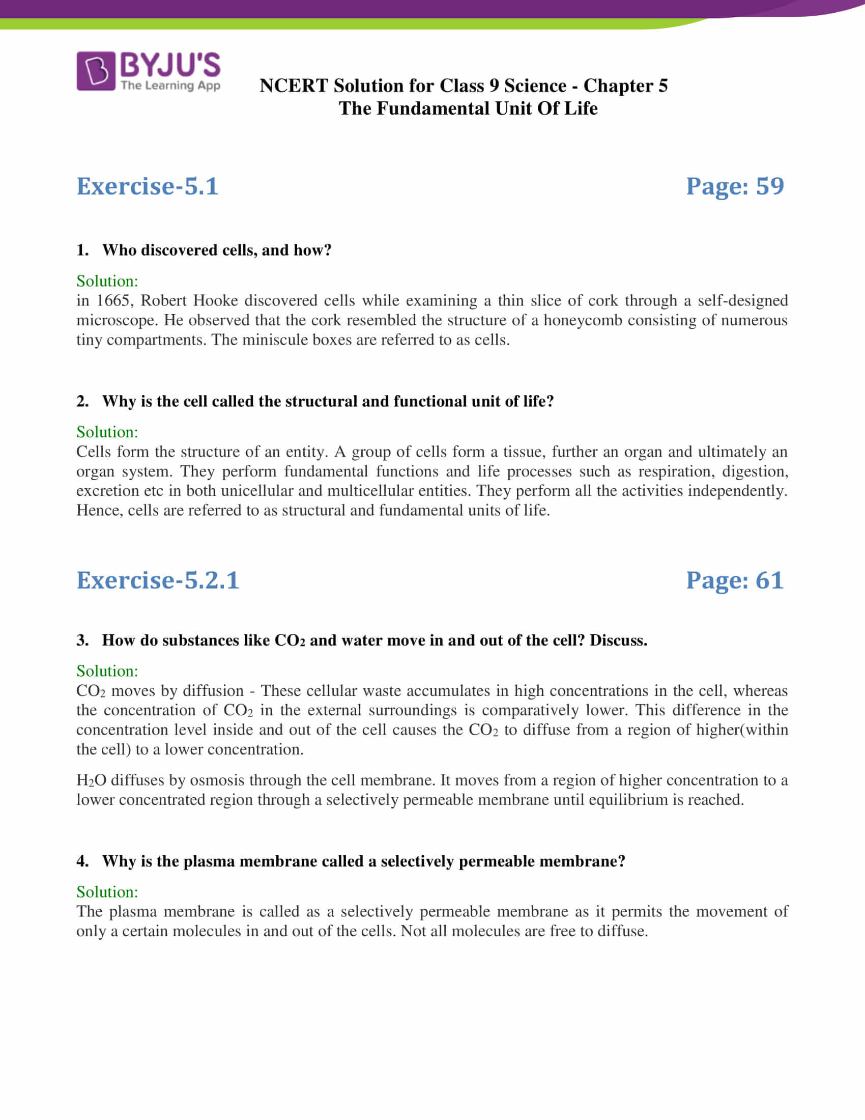 NCERT Solutions Class 9 Science Chapter 5 The Fundamental