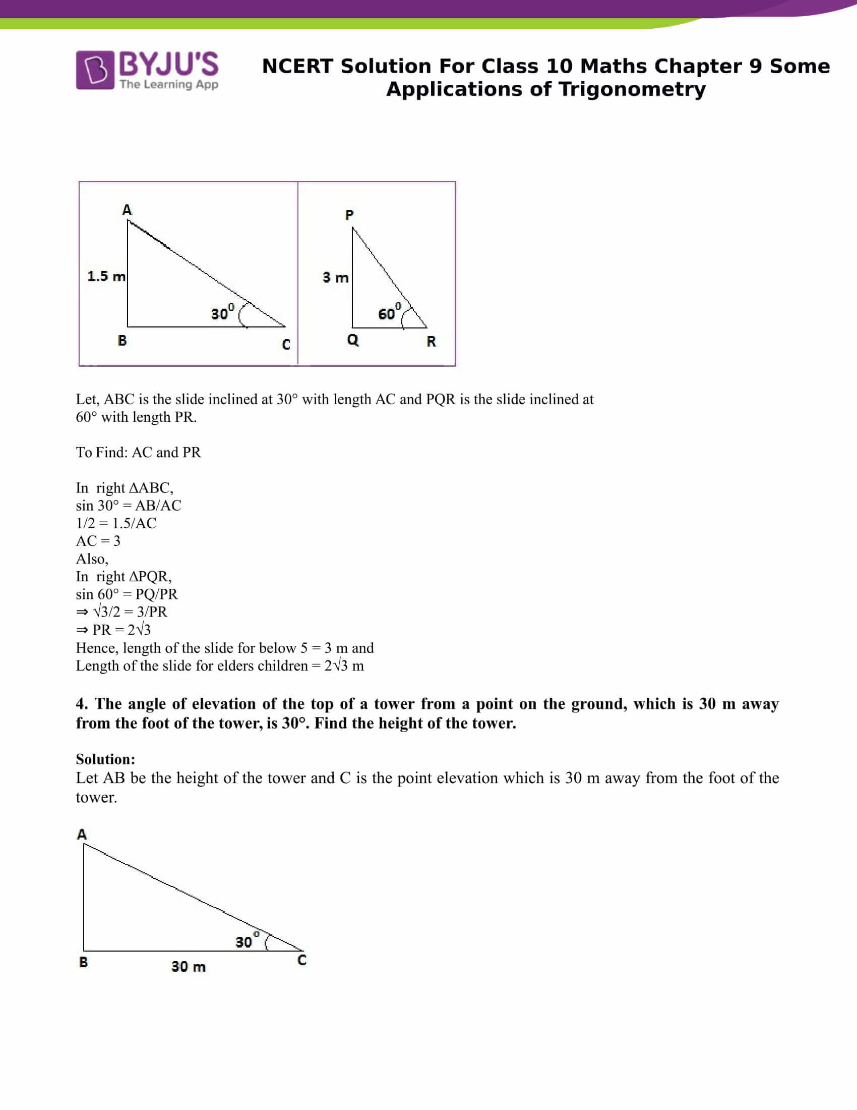 NCERT Solution for class 10 Maths Chapter 9 Some Applications of Trigonometry Part 3