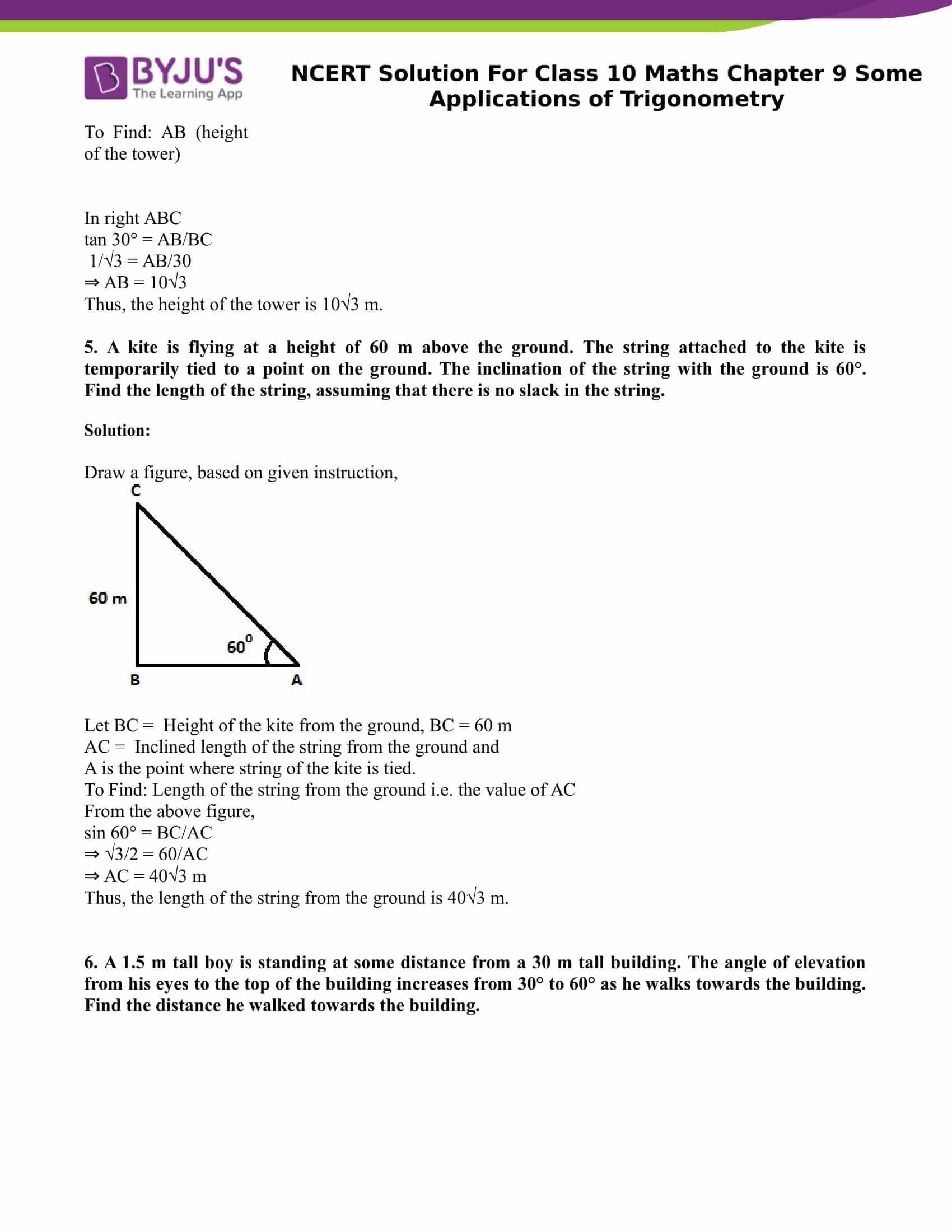 NCERT Solution for class 10 Maths Chapter 9 Some Applications of Trigonometry Part 4