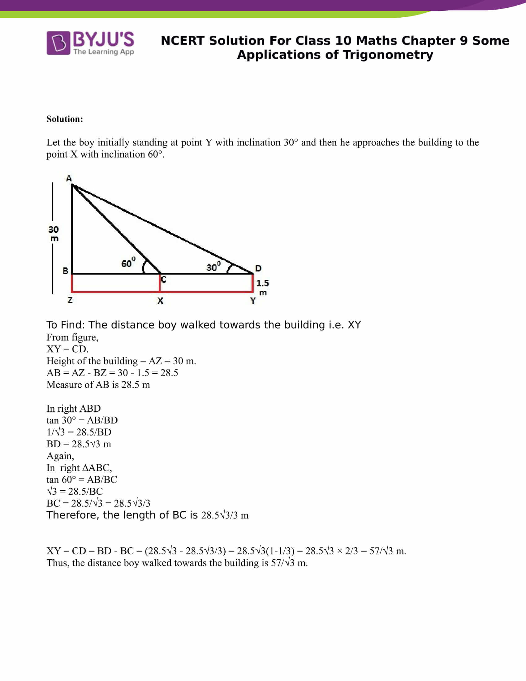 NCERT Solution for class 10 Maths Chapter 9 Some Applications of Trigonometry Part 5