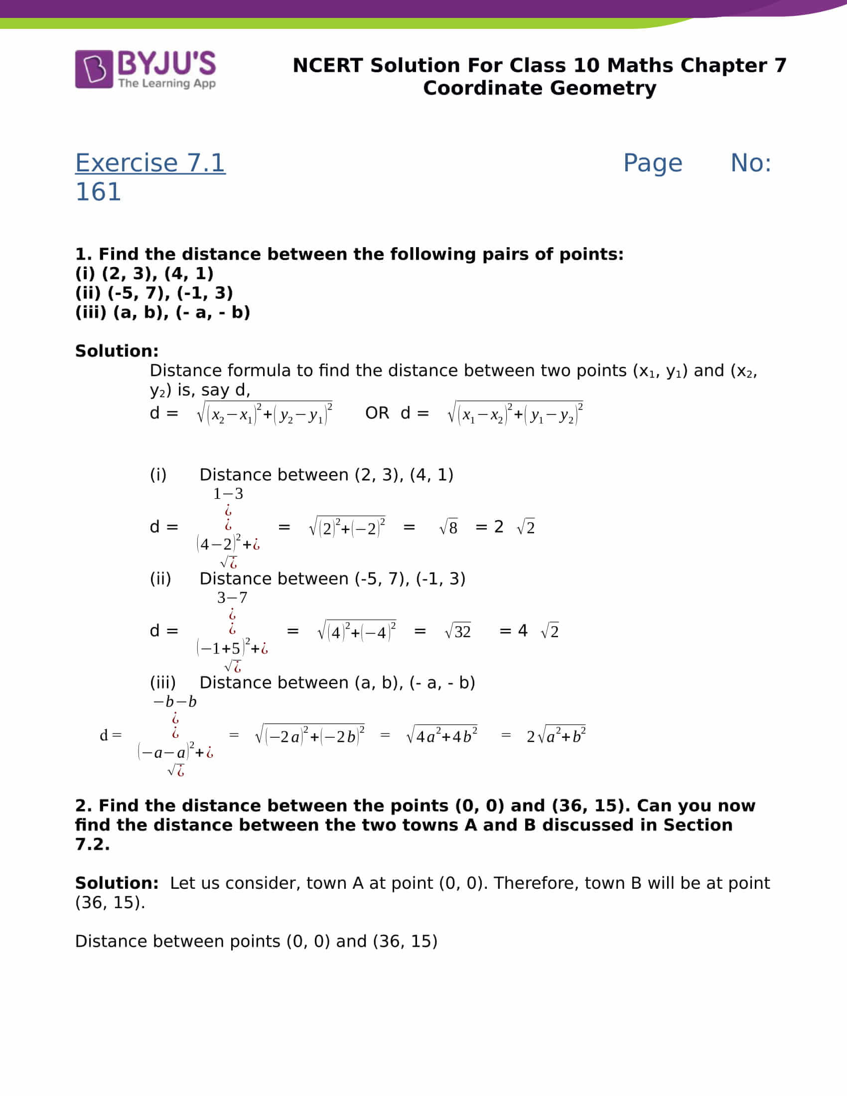 NCERT Solutions Class 10 Maths Chapter 7 Coordinates Geometry - Free