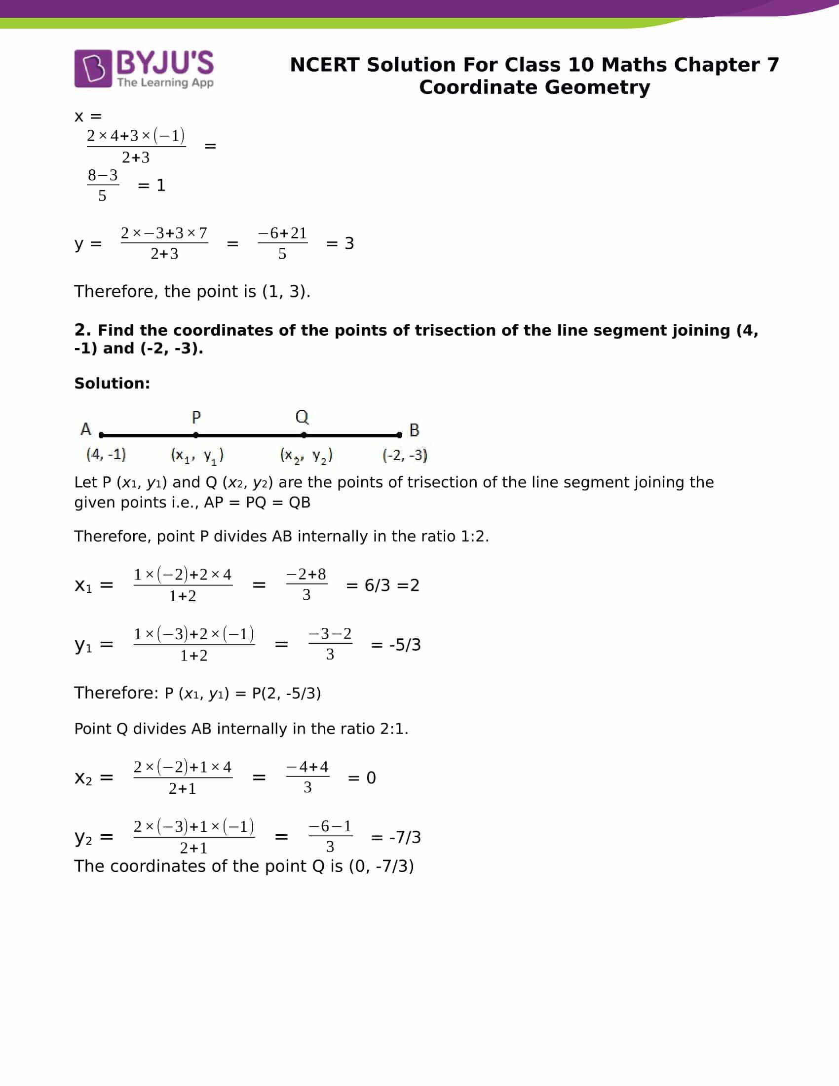 NCERT Solution for class 10 Maths chapter 7 Coordinate Geometry Part 11