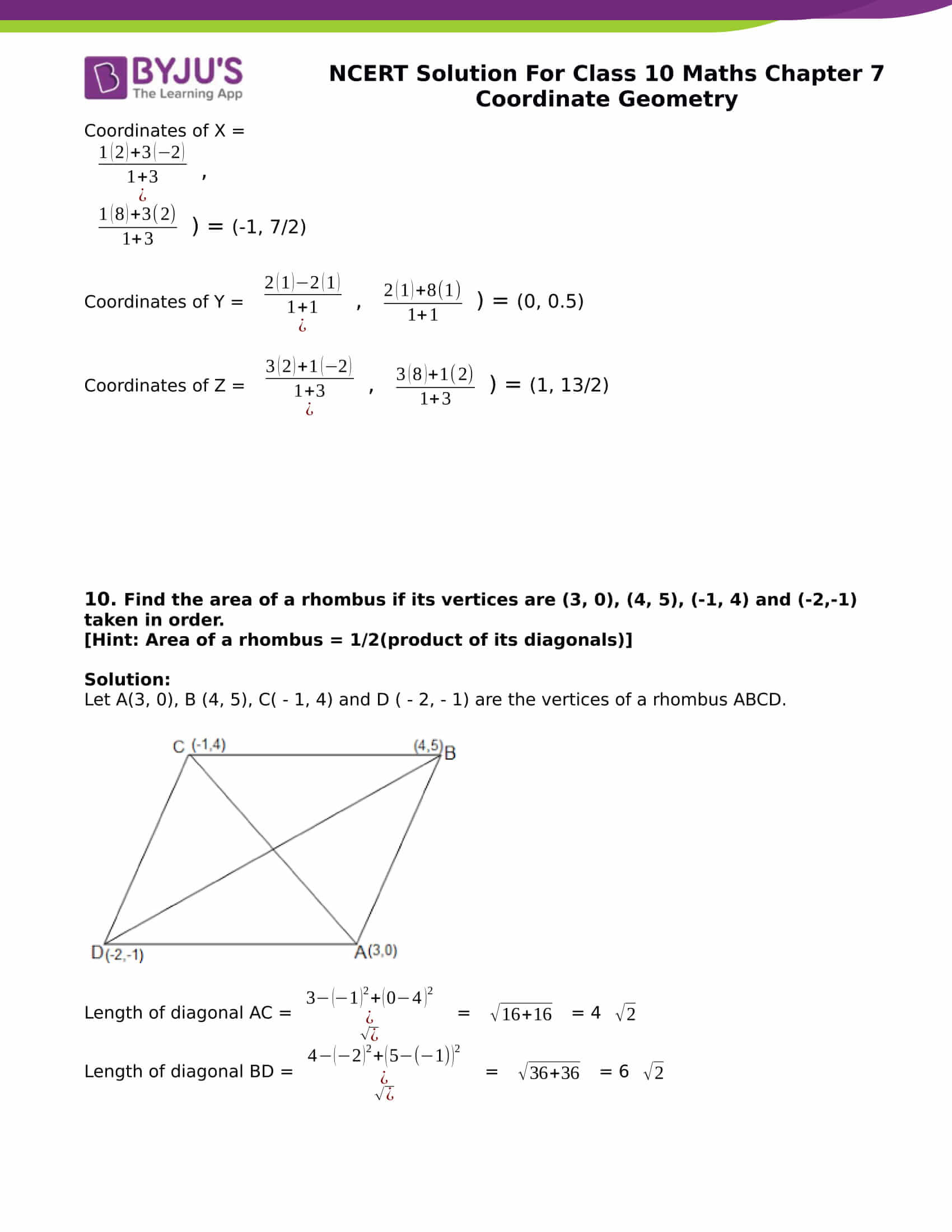 NCERT Solution for class 10 Maths chapter 7 Coordinate Geometry Part 16
