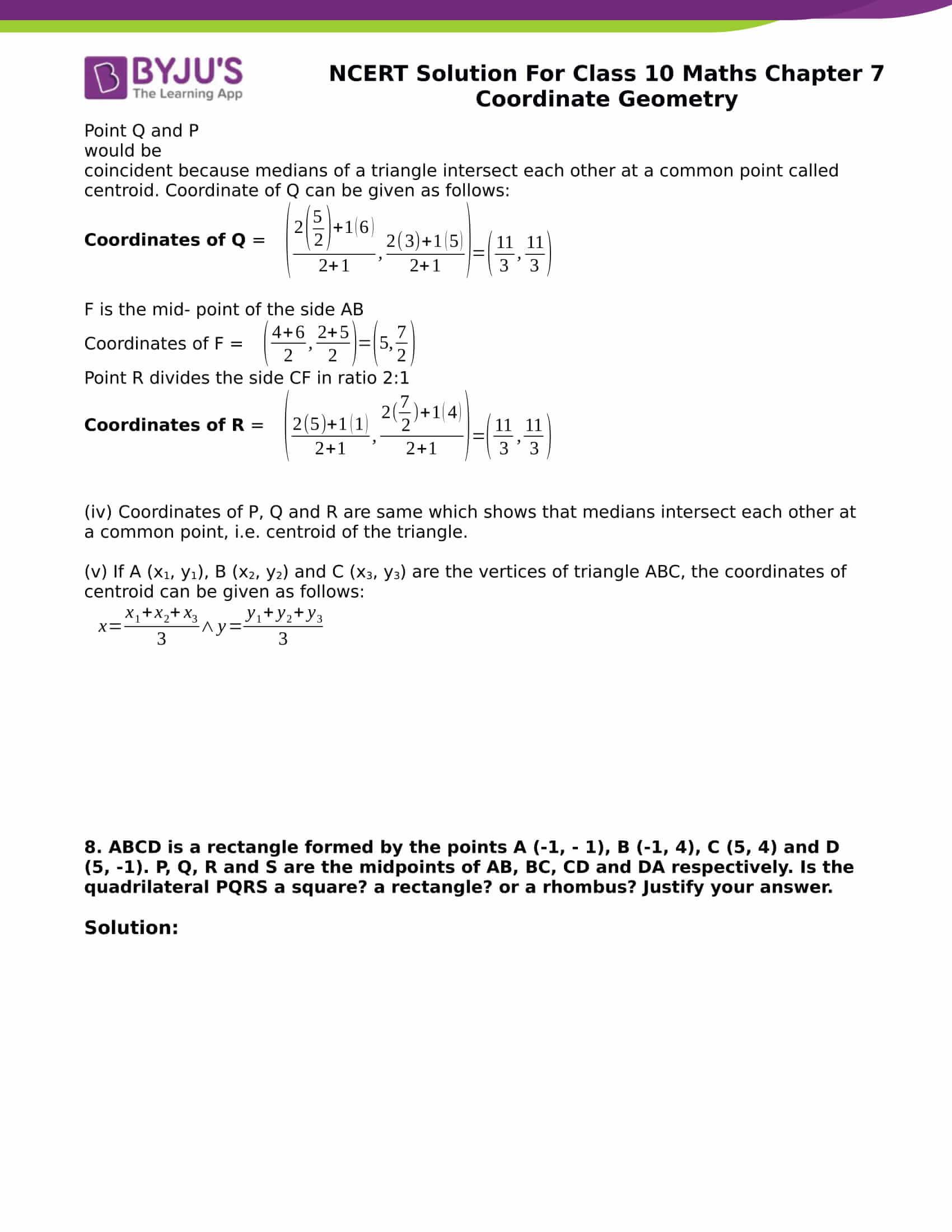 NCERT Solution for class 10 Maths chapter 7 Coordinate Geometry Part 30
