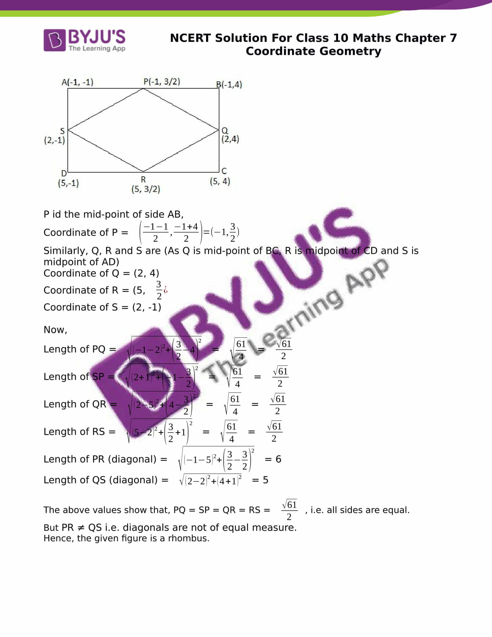 NCERT Solution for class 10 Maths chapter 7 Coordinate Geometry Part 31