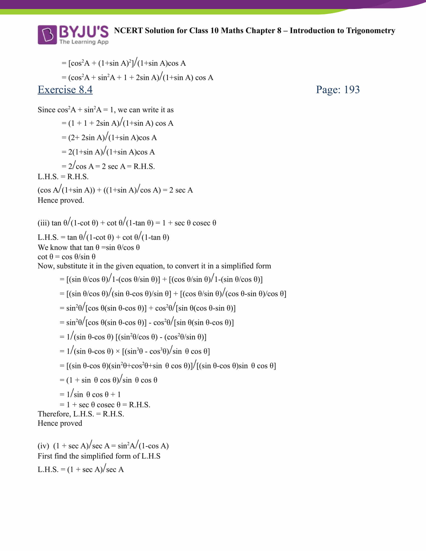 NCERT Solution for class 10 Maths chapter 8 Introduction to Trigonometry Part 25