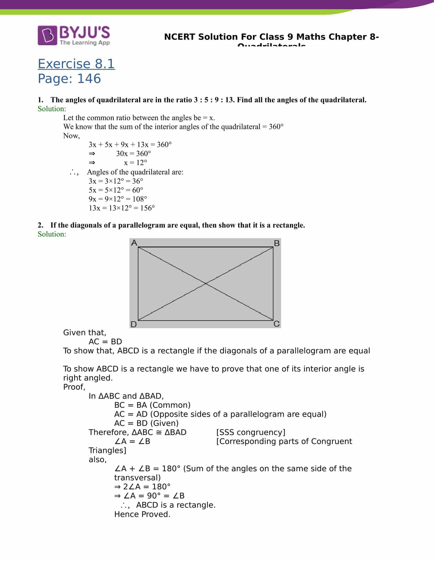 NCERT Solutions Class 9 Maths Chapter 8 Quadrilaterals
