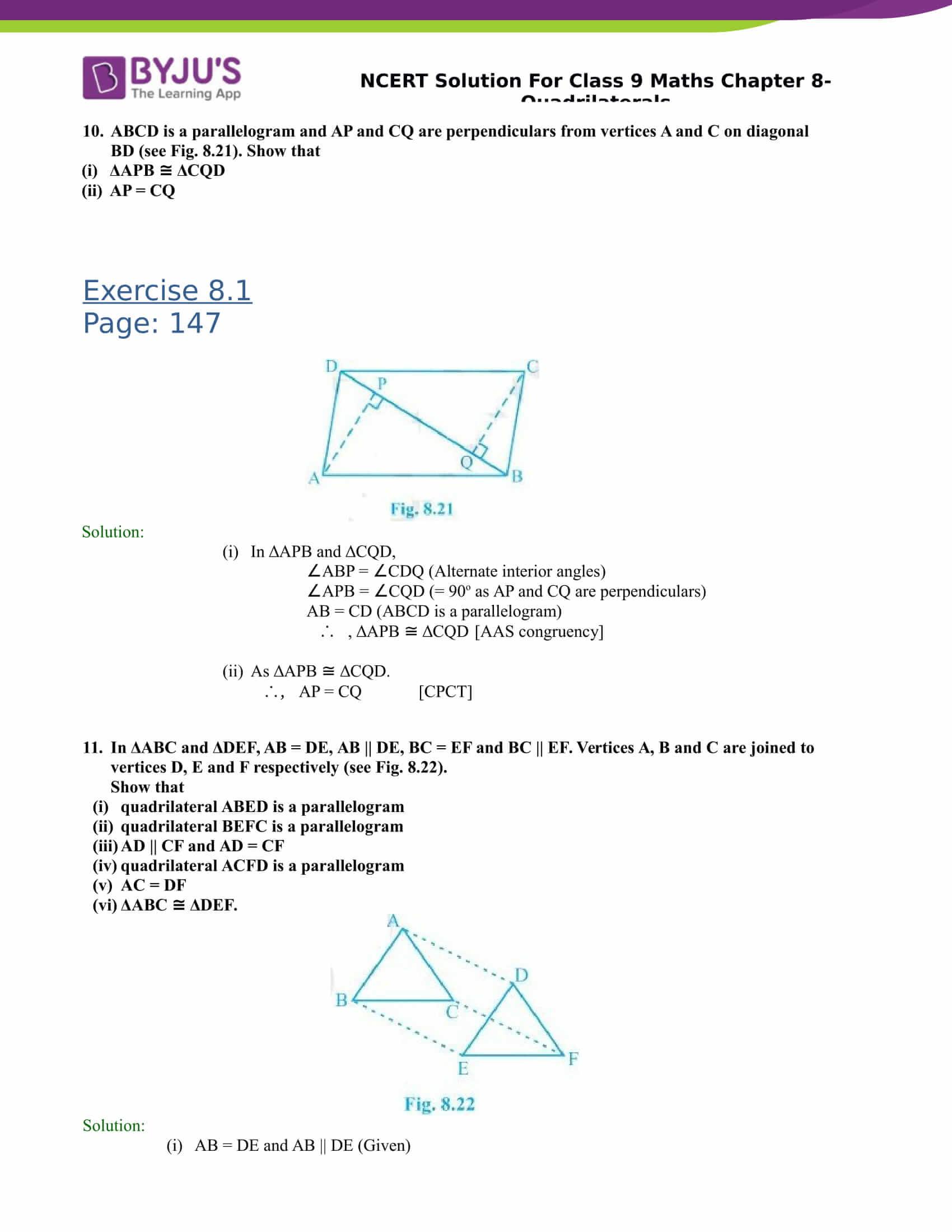 NCERT Solutions Class 9 Maths Chapter 8 Quadrilaterals - Click Here