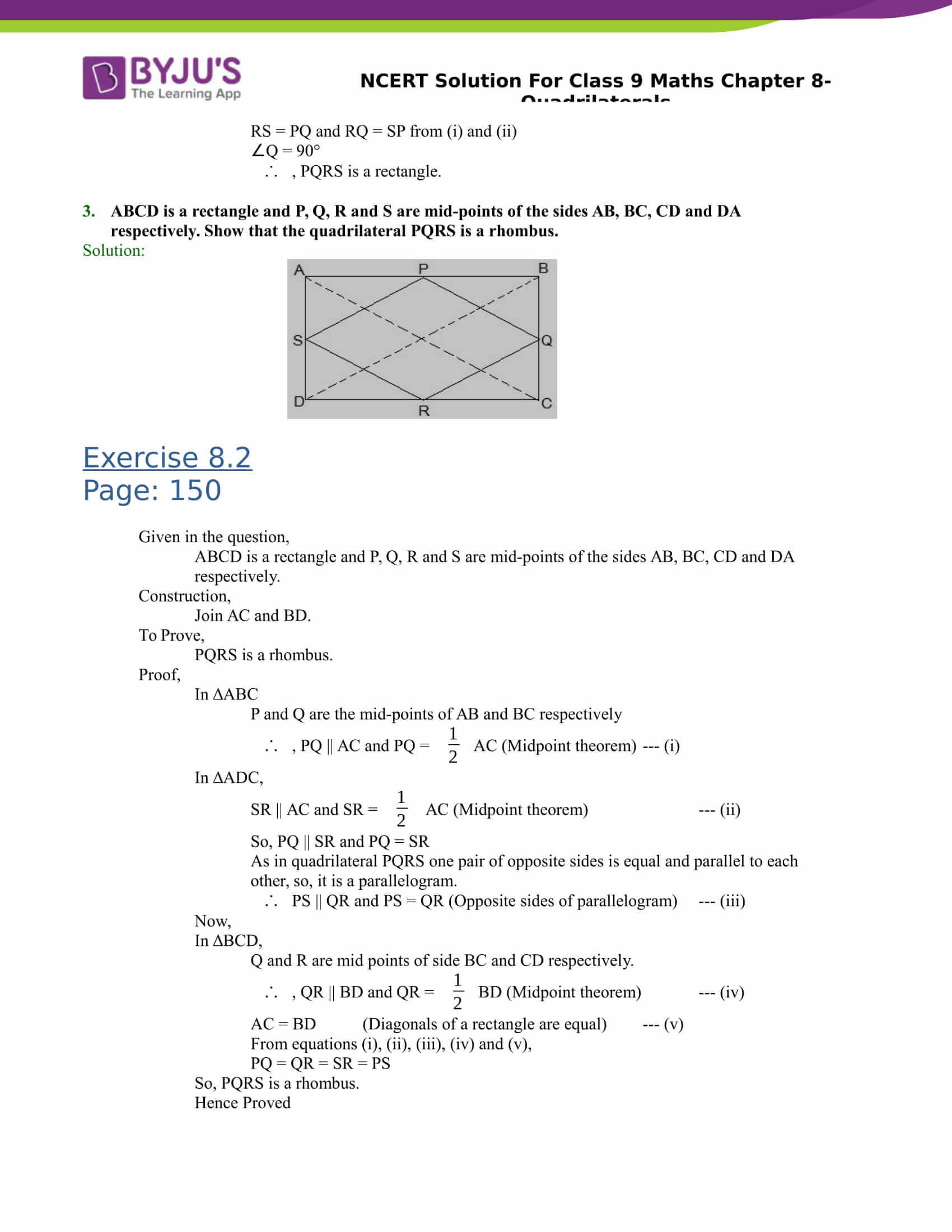 NCERT Solutions Class 9 Maths Chapter 8 Quadrilaterals
