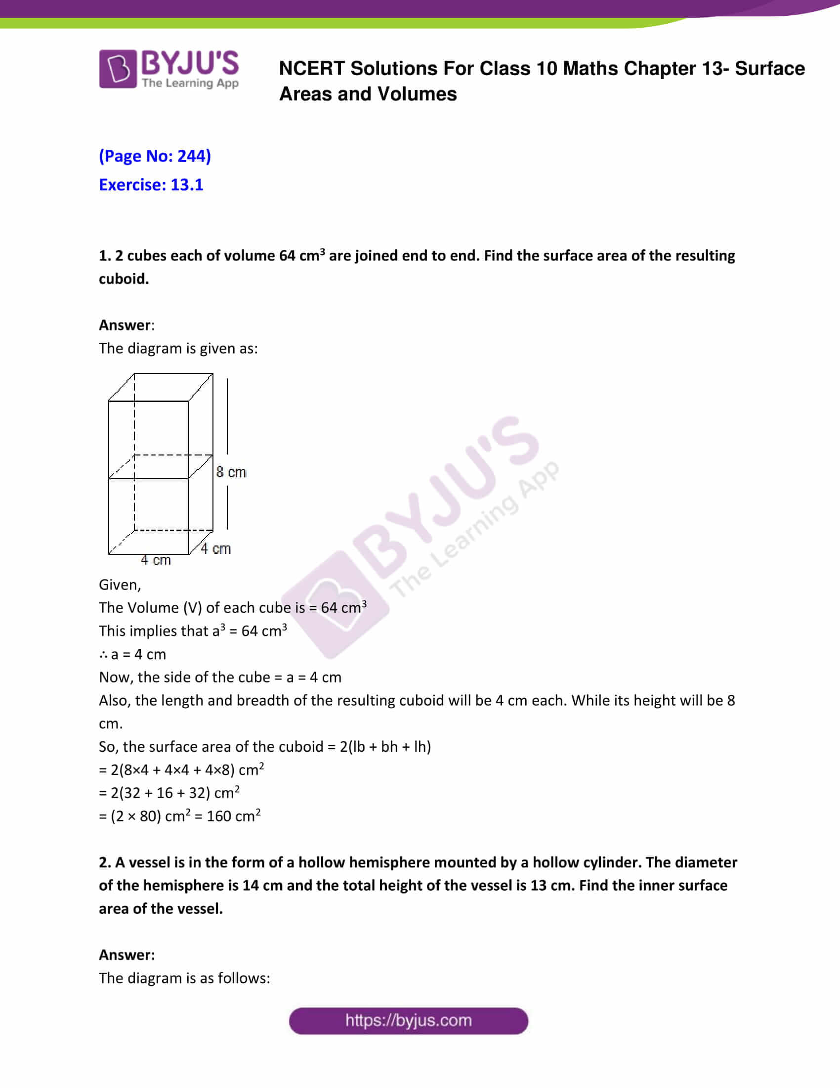 NCERT Solutions Class 10 Maths Chapter 13 Surface Areas and
