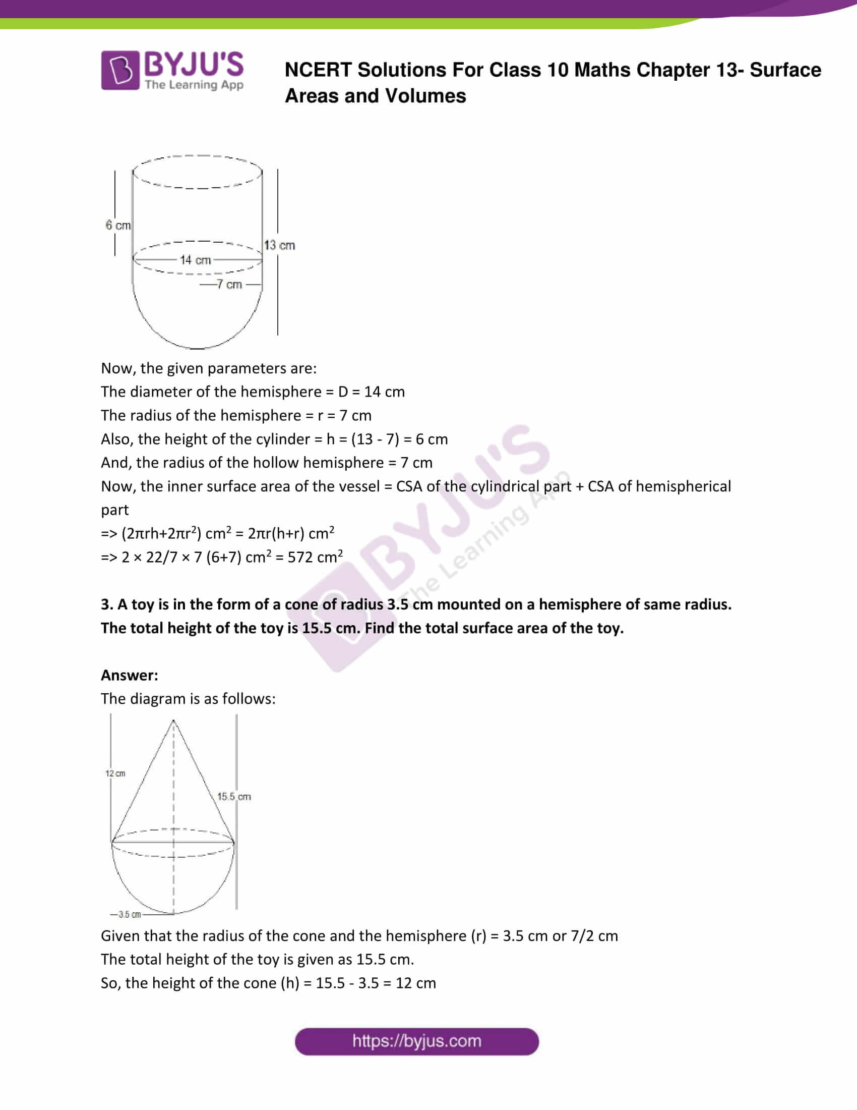 NCERT Solutions Class 10 Maths Chapter 13 Surface Areas and Volumes Part 02