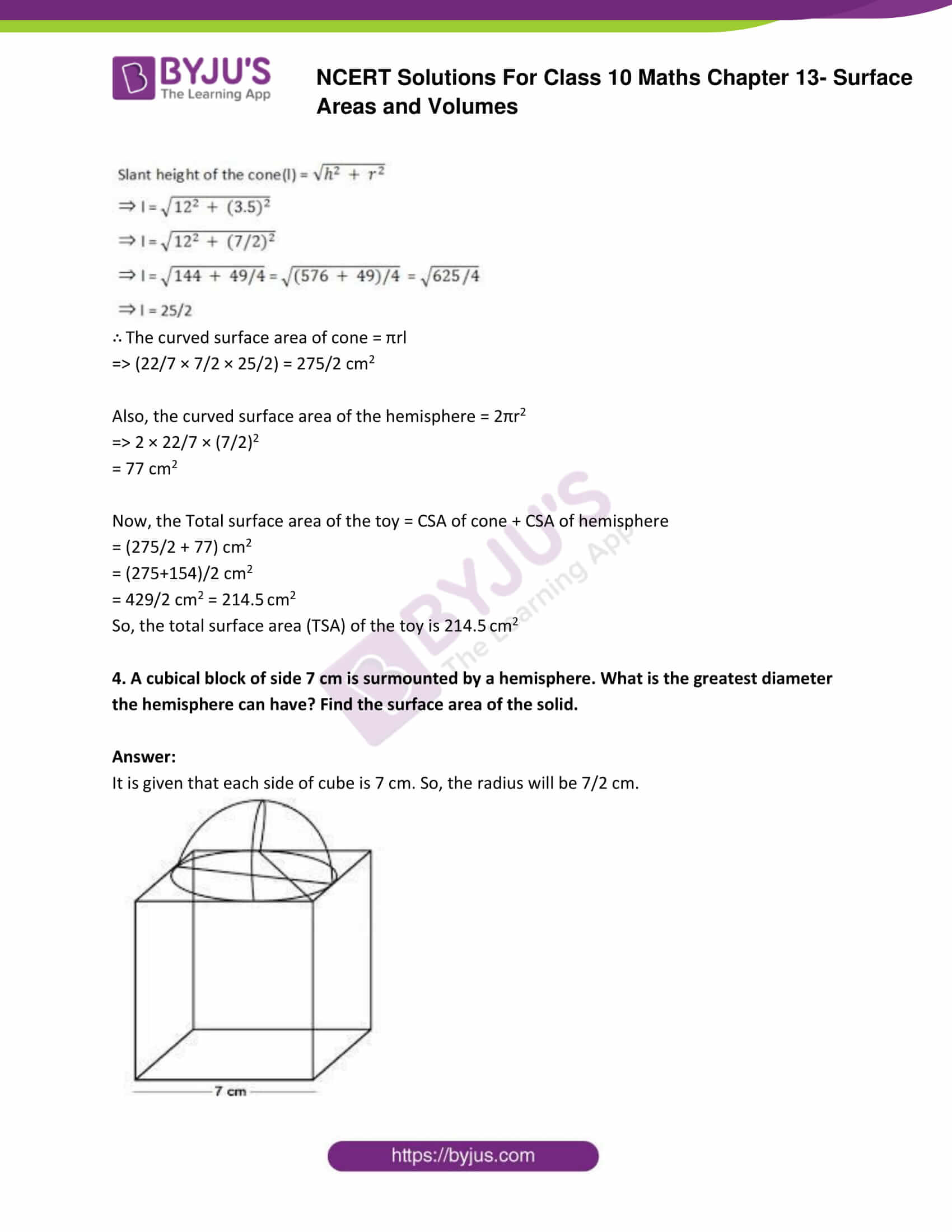 NCERT Solutions Class 10 Maths Chapter 13 Surface Areas and Volumes Part 03