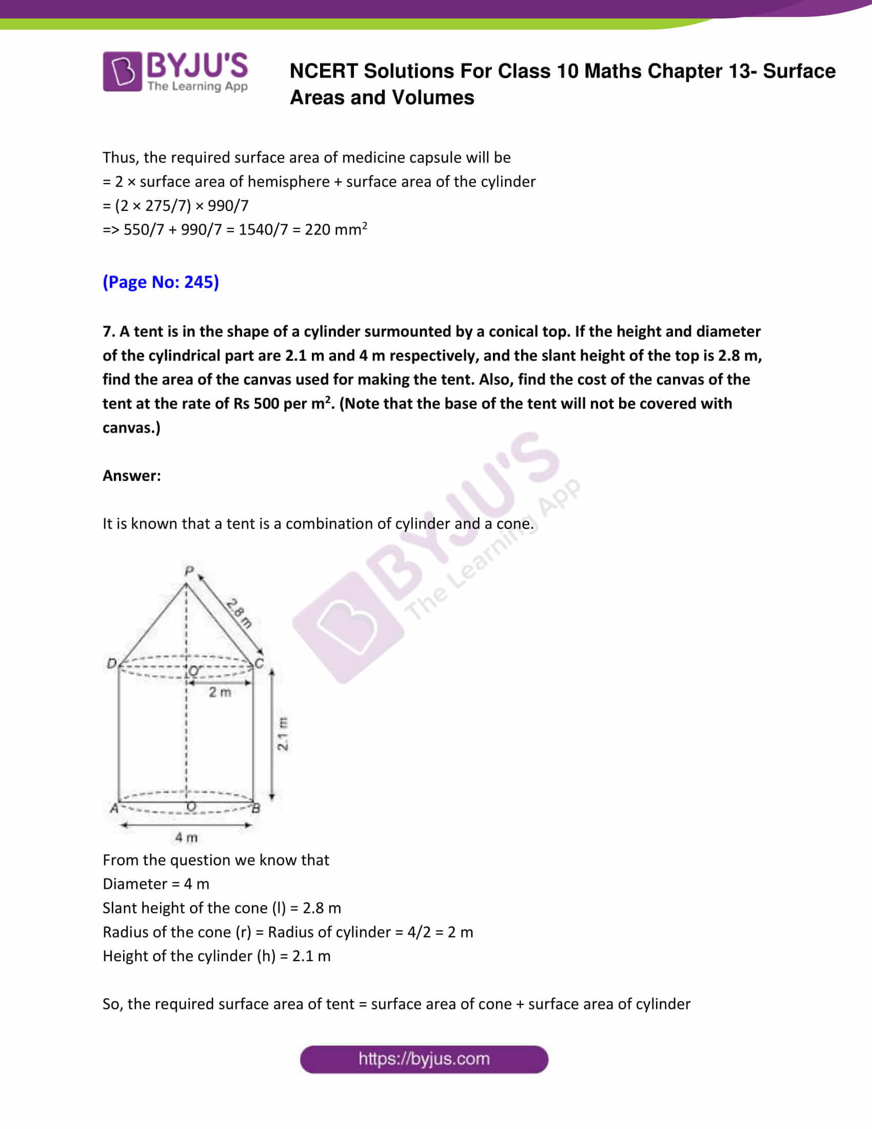 NCERT Solutions Class 10 Maths Chapter 13 Surface Areas and Volumes Part 06