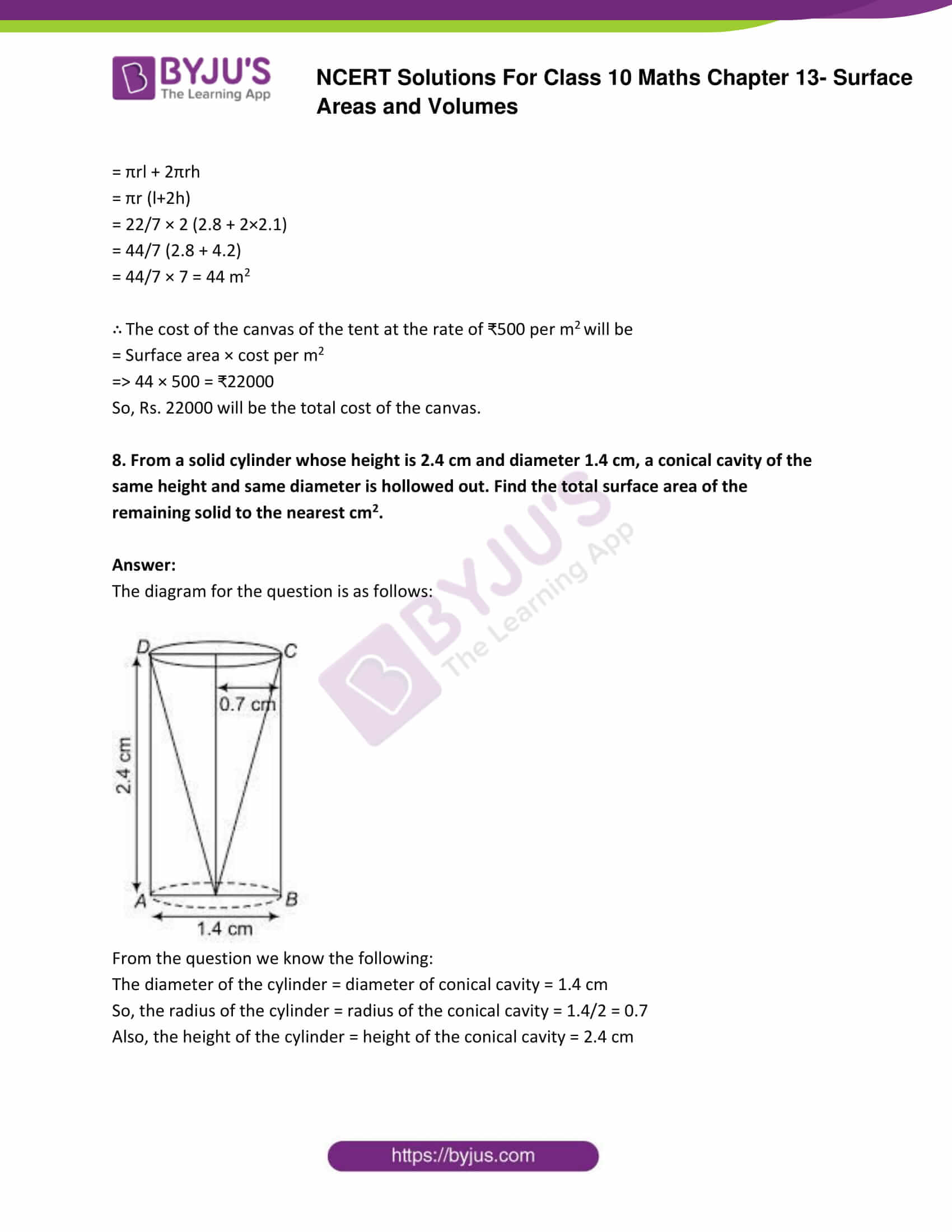 NCERT Solutions Class 10 Maths Chapter 13 Surface Areas and Volumes Part 07