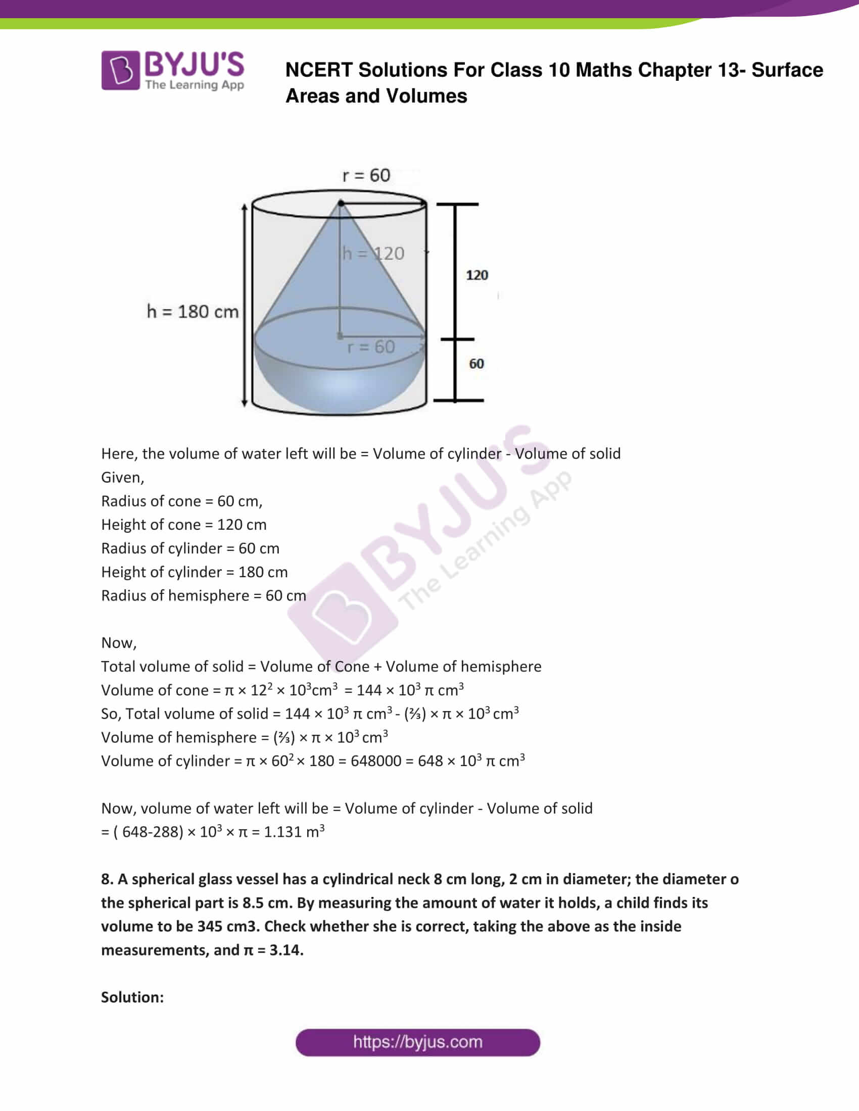 NCERT Solutions Class 10 Maths Chapter 13 Surface Areas and Volumes Part 13