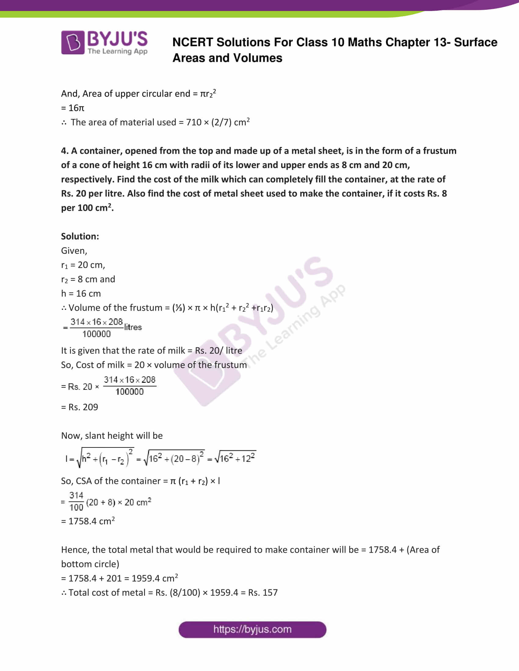 NCERT Solutions Class 10 Maths Chapter 13 Surface Areas and Volumes Part 22