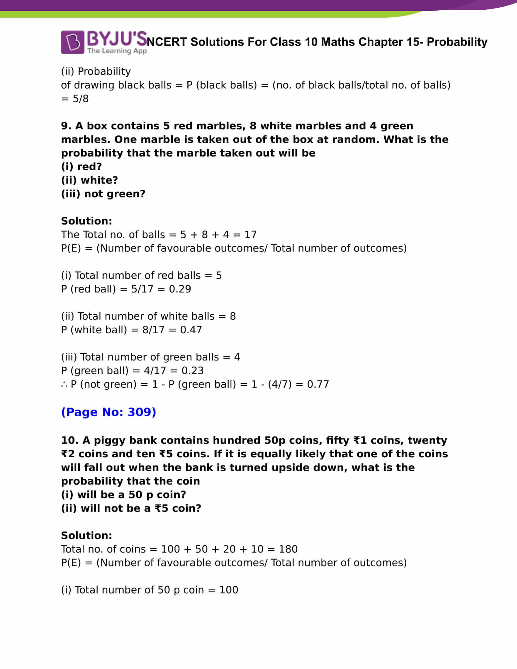 NCERT Solutions For Class 10 Maths Chapter 15 Probability Part 04