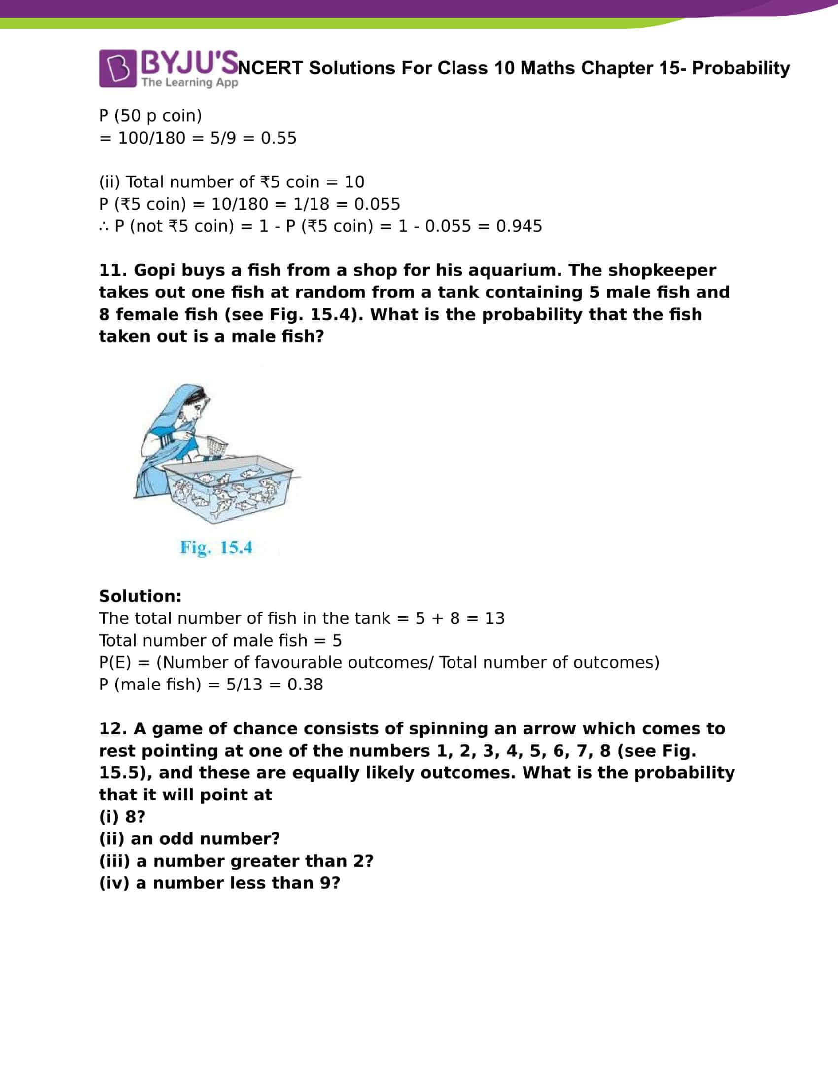 NCERT Solutions For Class 10 Maths Chapter 15 Probability Part 05