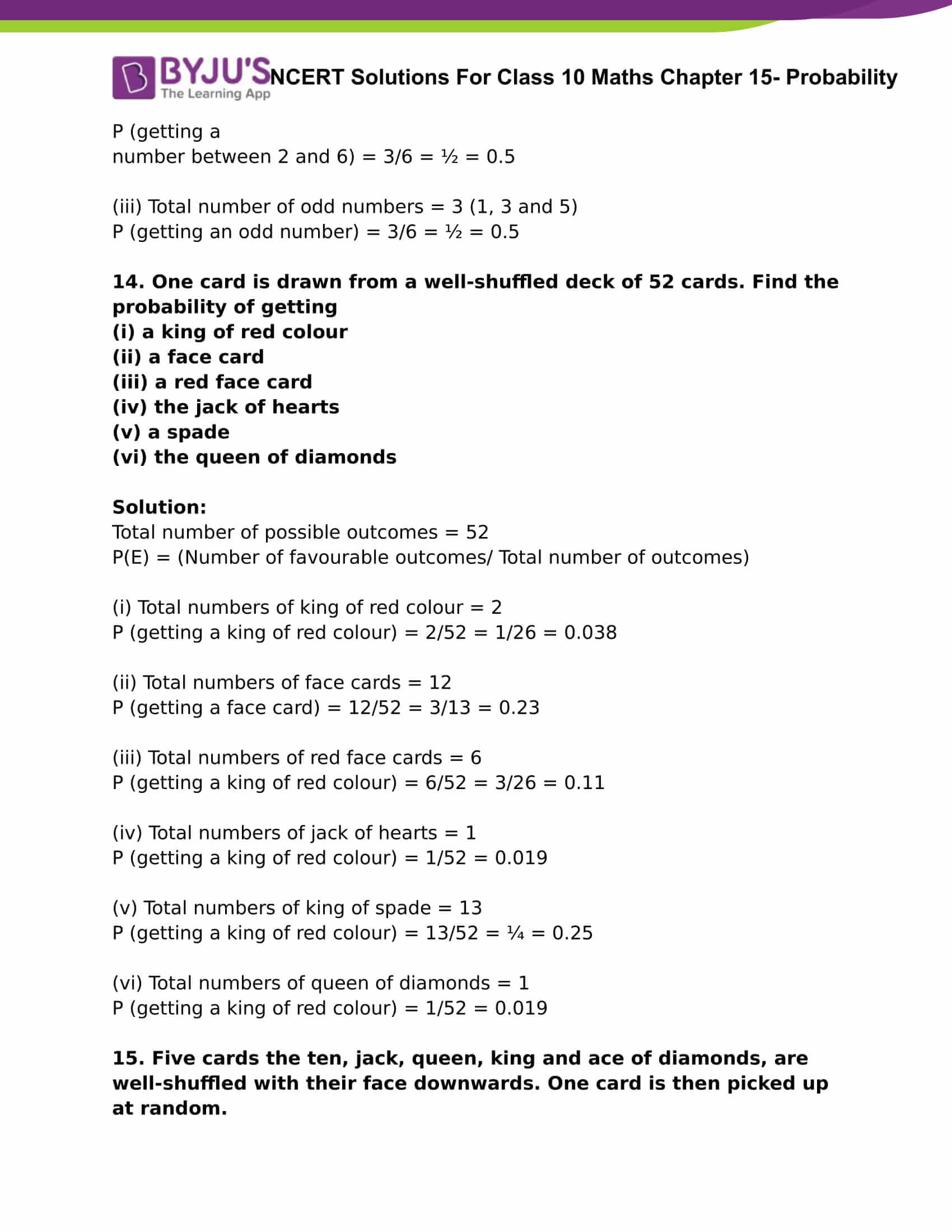 NCERT Solutions For Class 10 Maths Chapter 15 Probability Part 07
