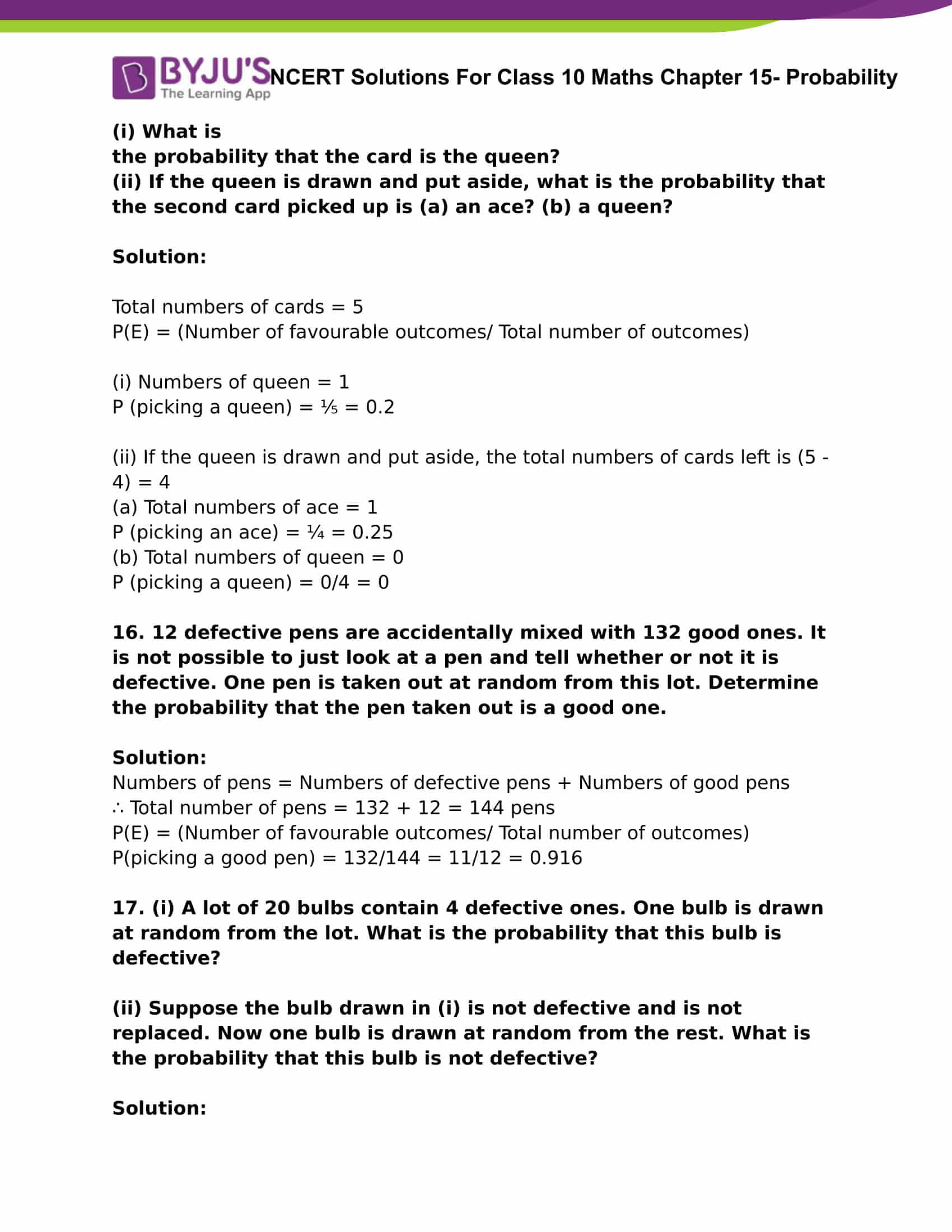 NCERT Solutions For Class 10 Maths Chapter 15 Probability Part 08