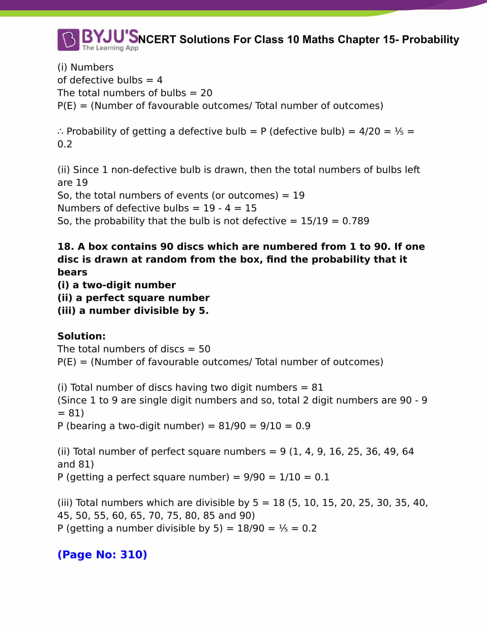 NCERT Solutions For Class 10 Maths Chapter 15 Probability Part 09