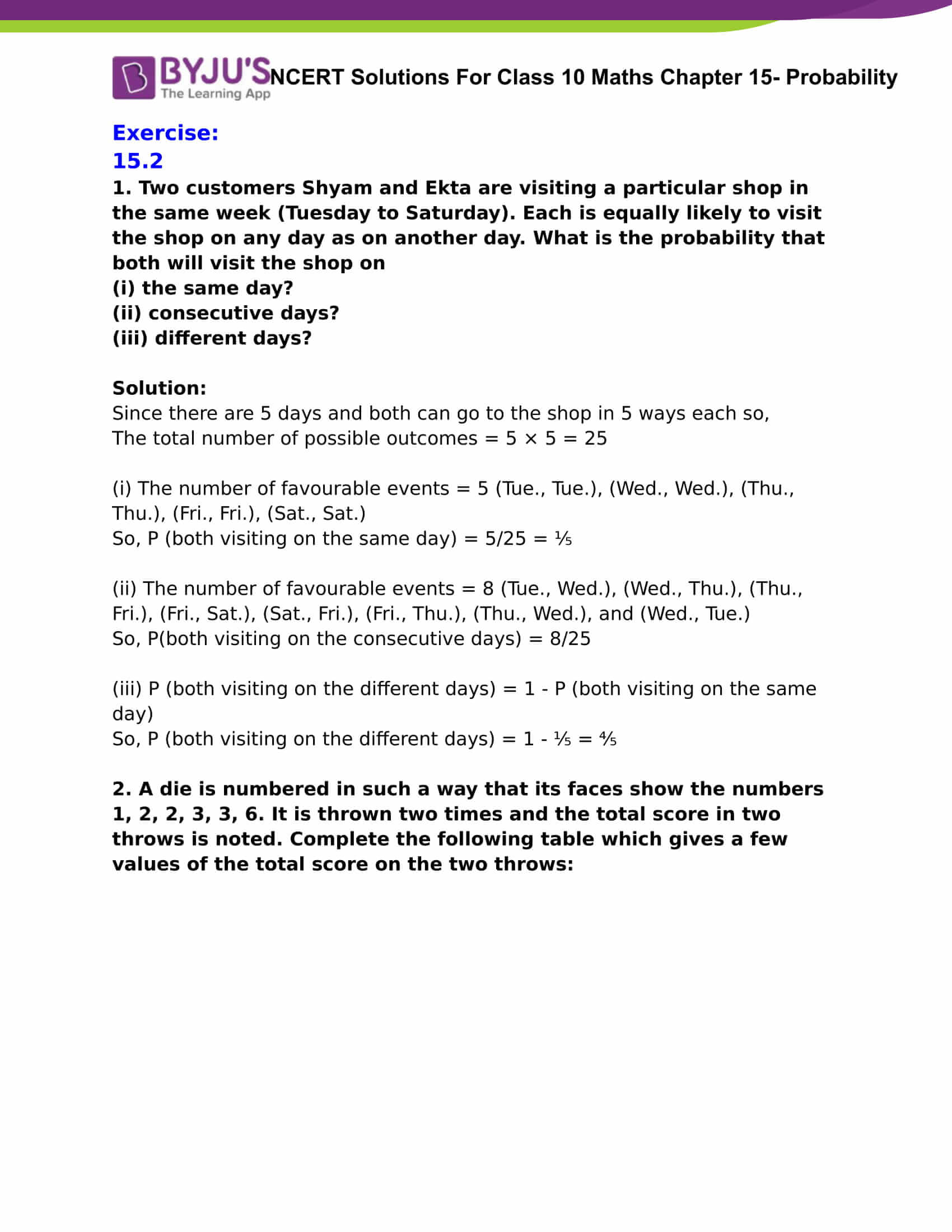 NCERT Solutions For Class 10 Maths Chapter 15 Probability Part 15