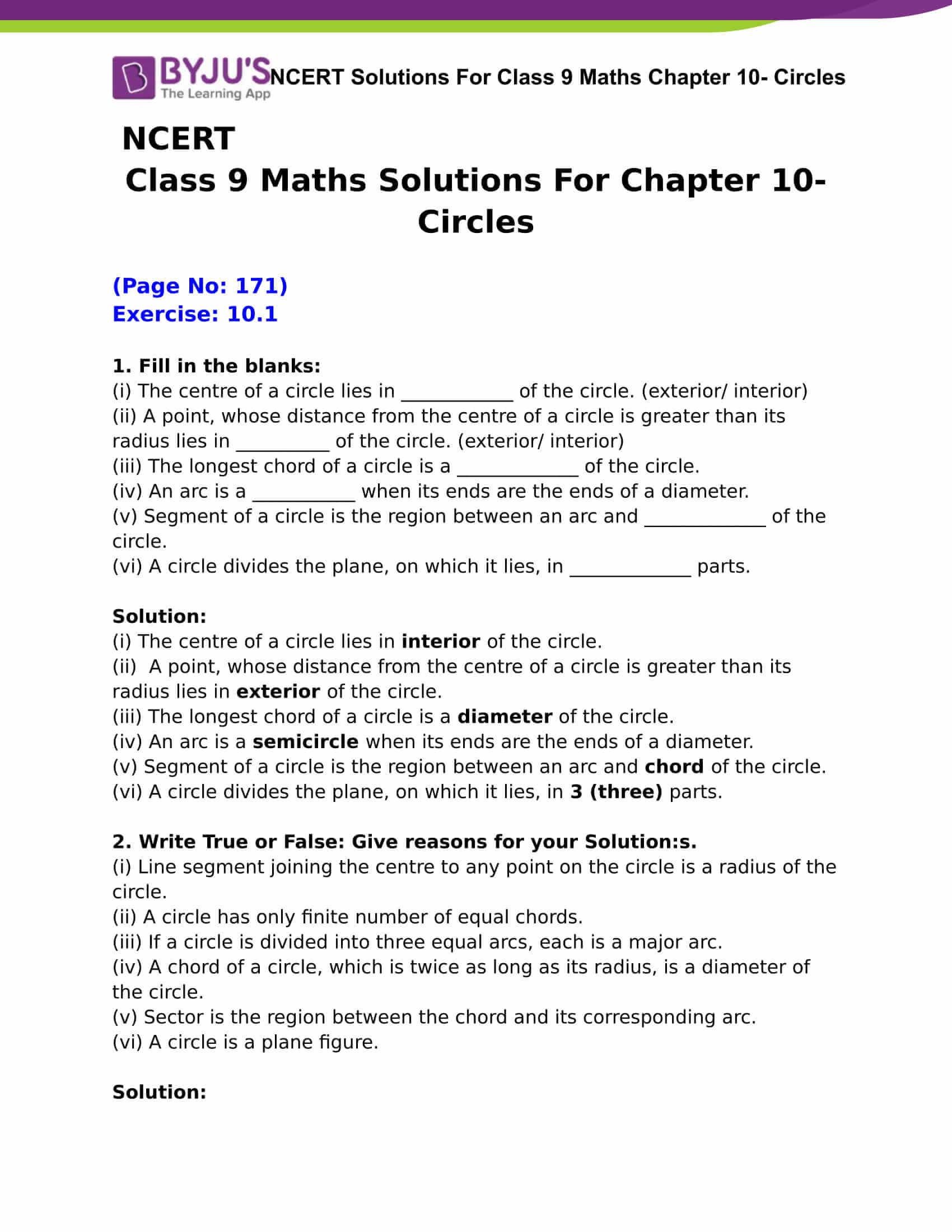 NCERT Solutions Class 9 Maths Chapter 10 Circles Free PDF