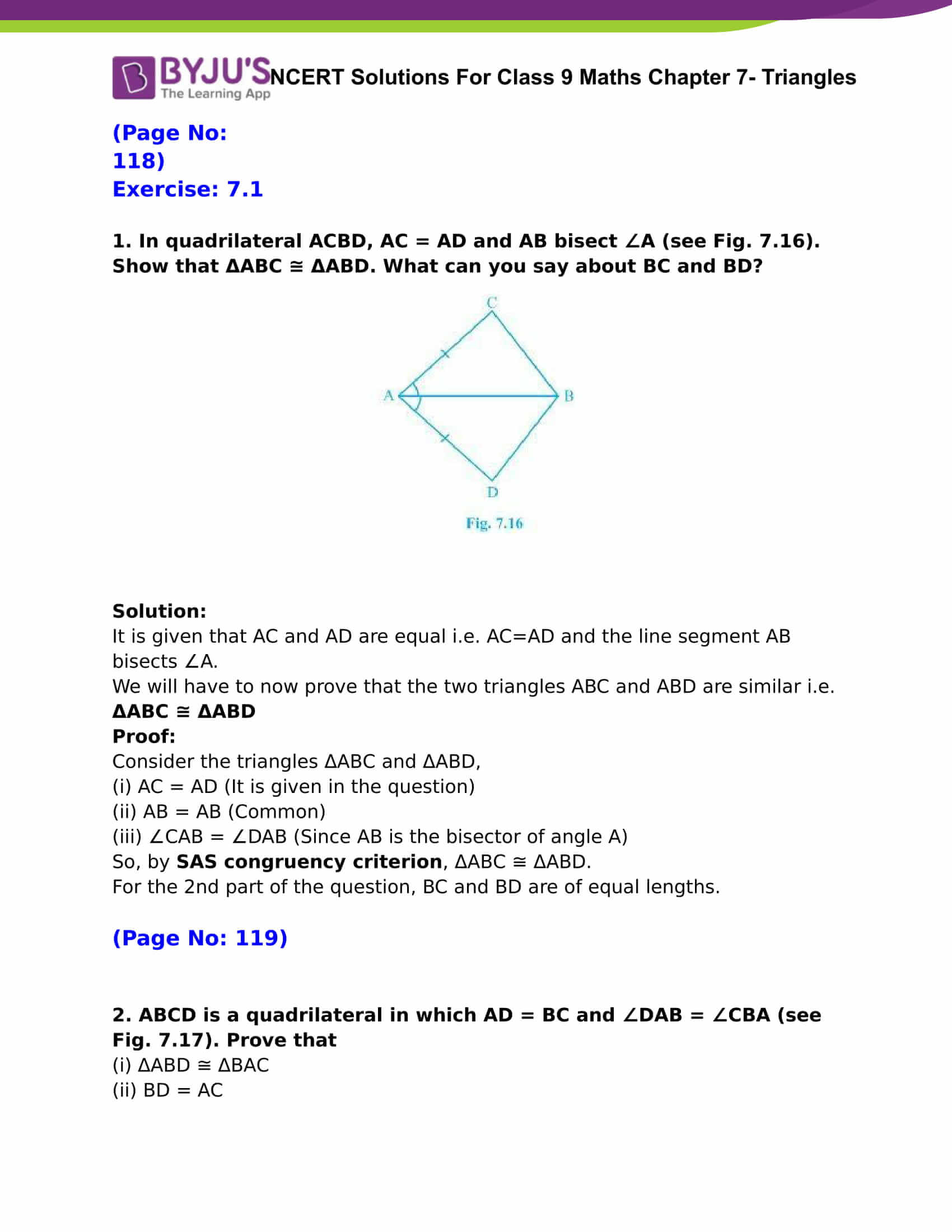 NCERT Solutions for Class 9 Maths Chapter 7 Triangles - Download PDF