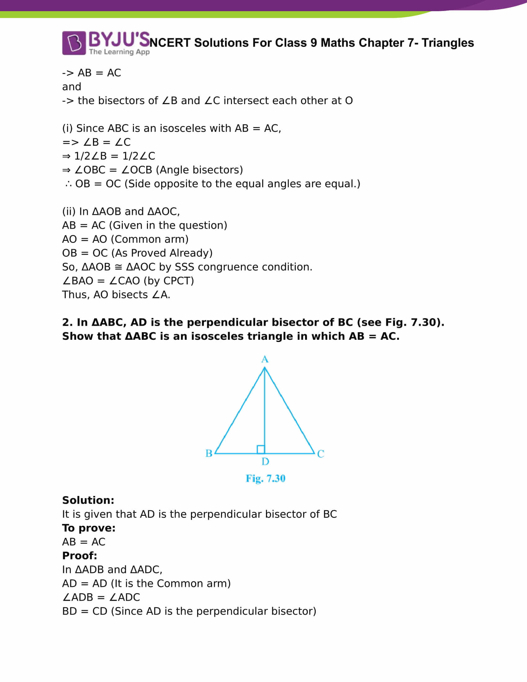 NCERT Solutions For Class 9 Maths Chapter 7 Triangles Part 8