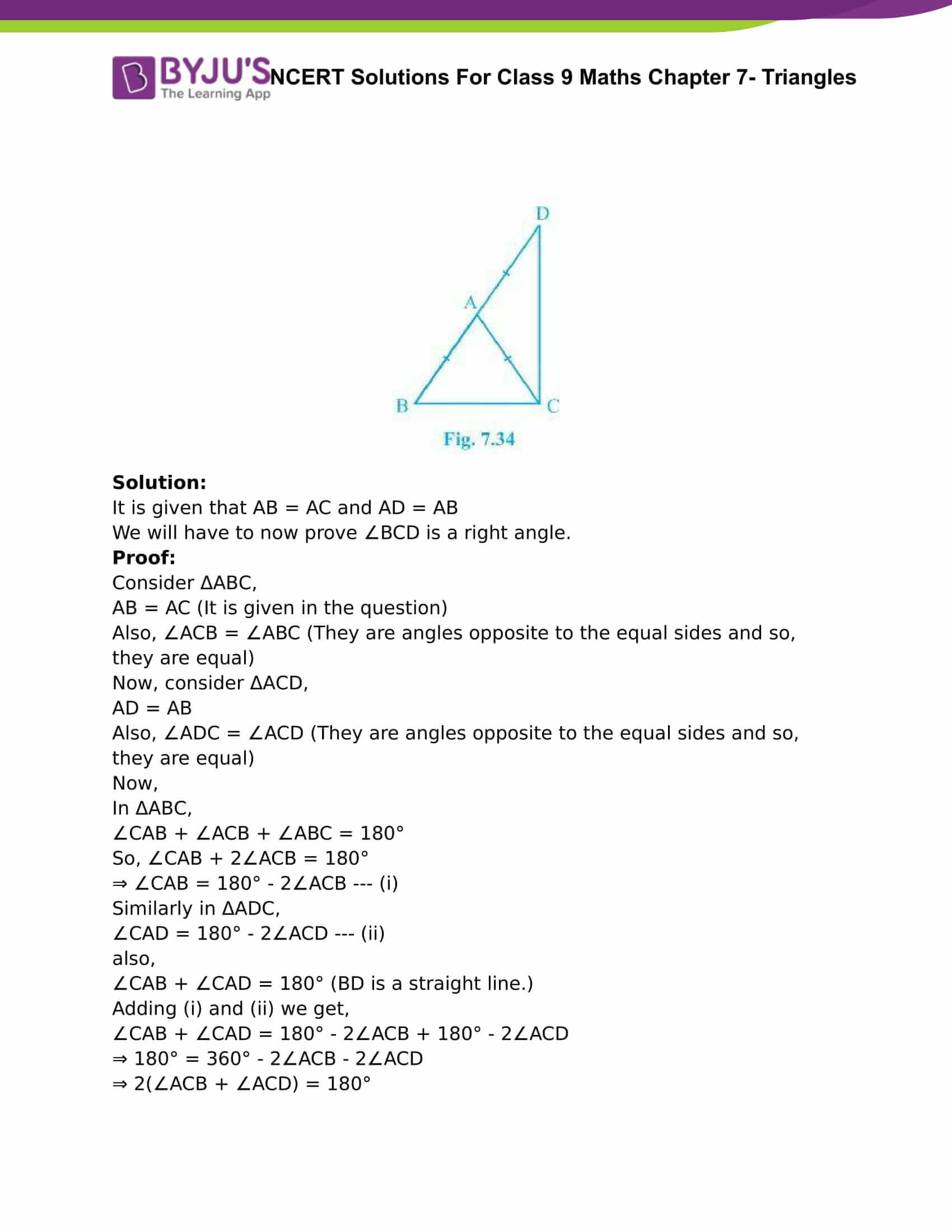 NCERT Solutions For Class 9 Maths Chapter 7 Triangles Part 12