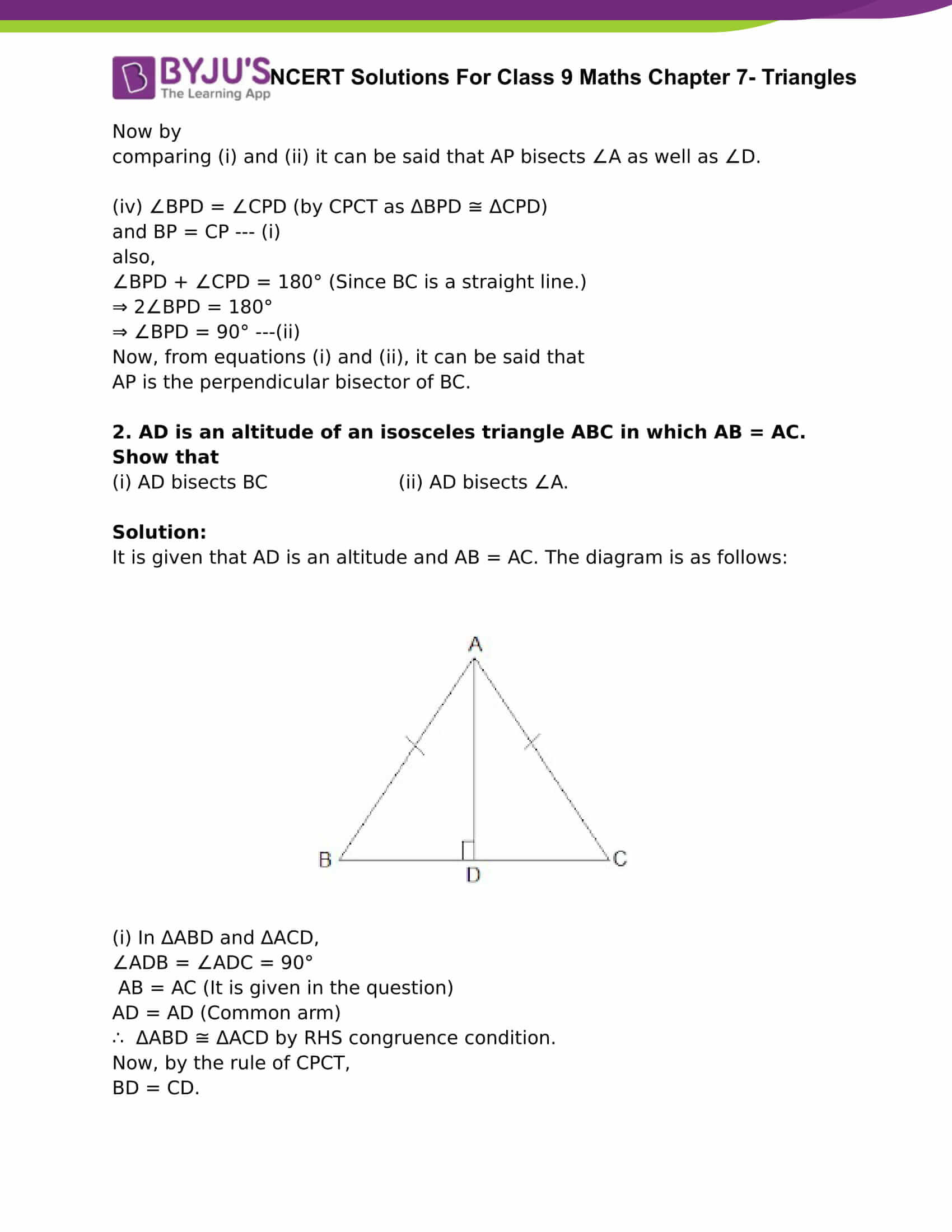 NCERT Solutions For Class 9 Maths Chapter 7 Triangles Part 16