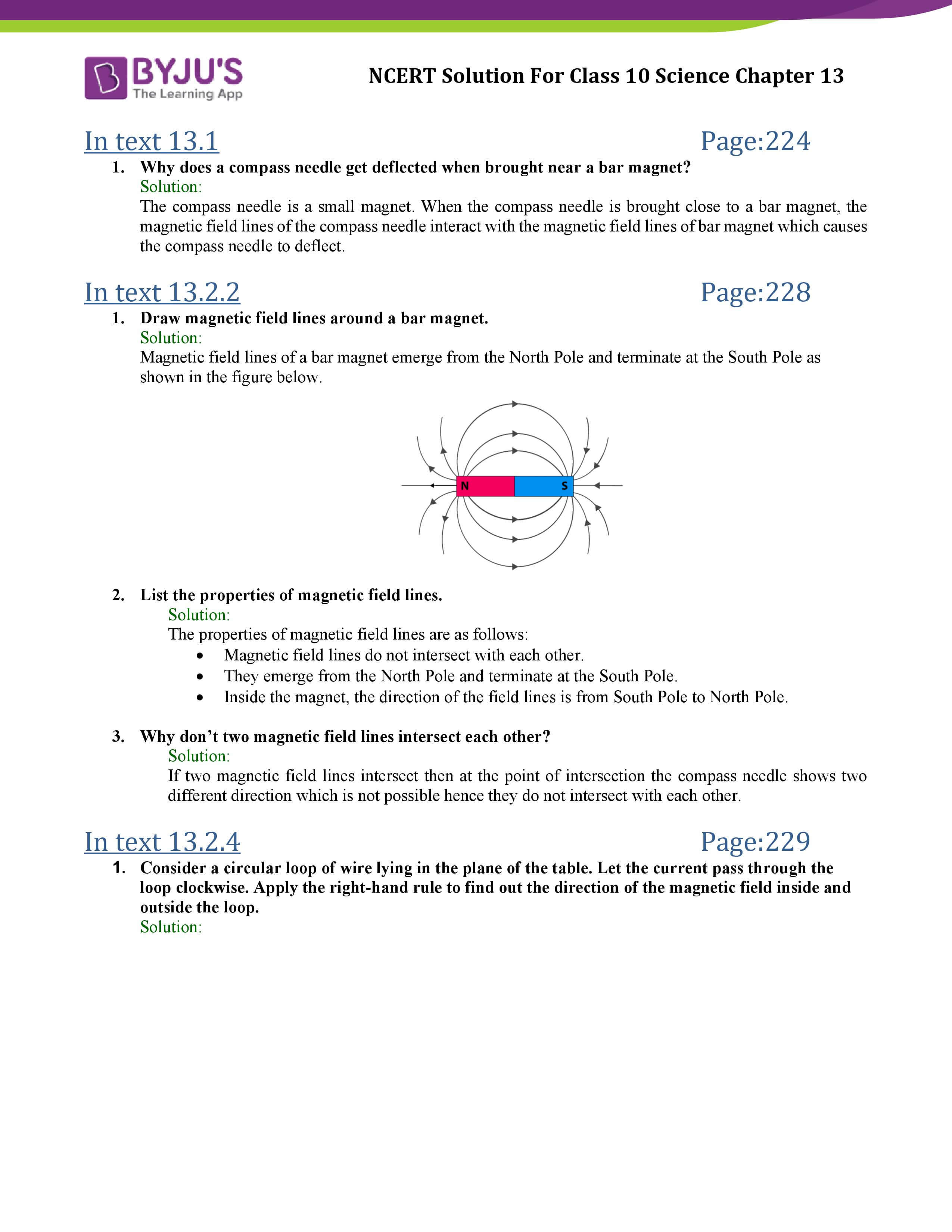 NCERT Solutions Class 10 Science Chapter 13 Magnetic Effects of