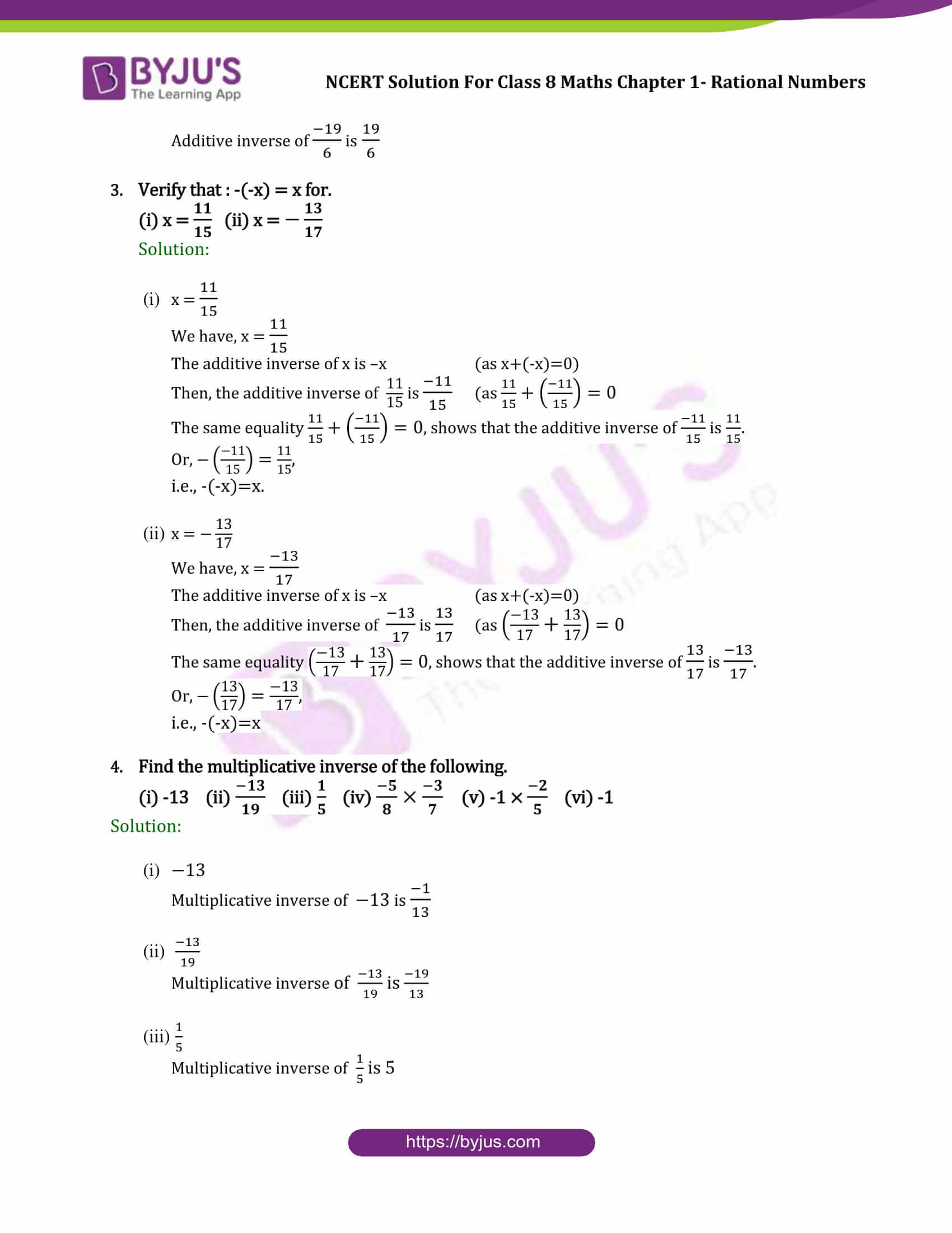 NCERT Solutions Class 8 Maths Chapter 1 Rational Numbers ...