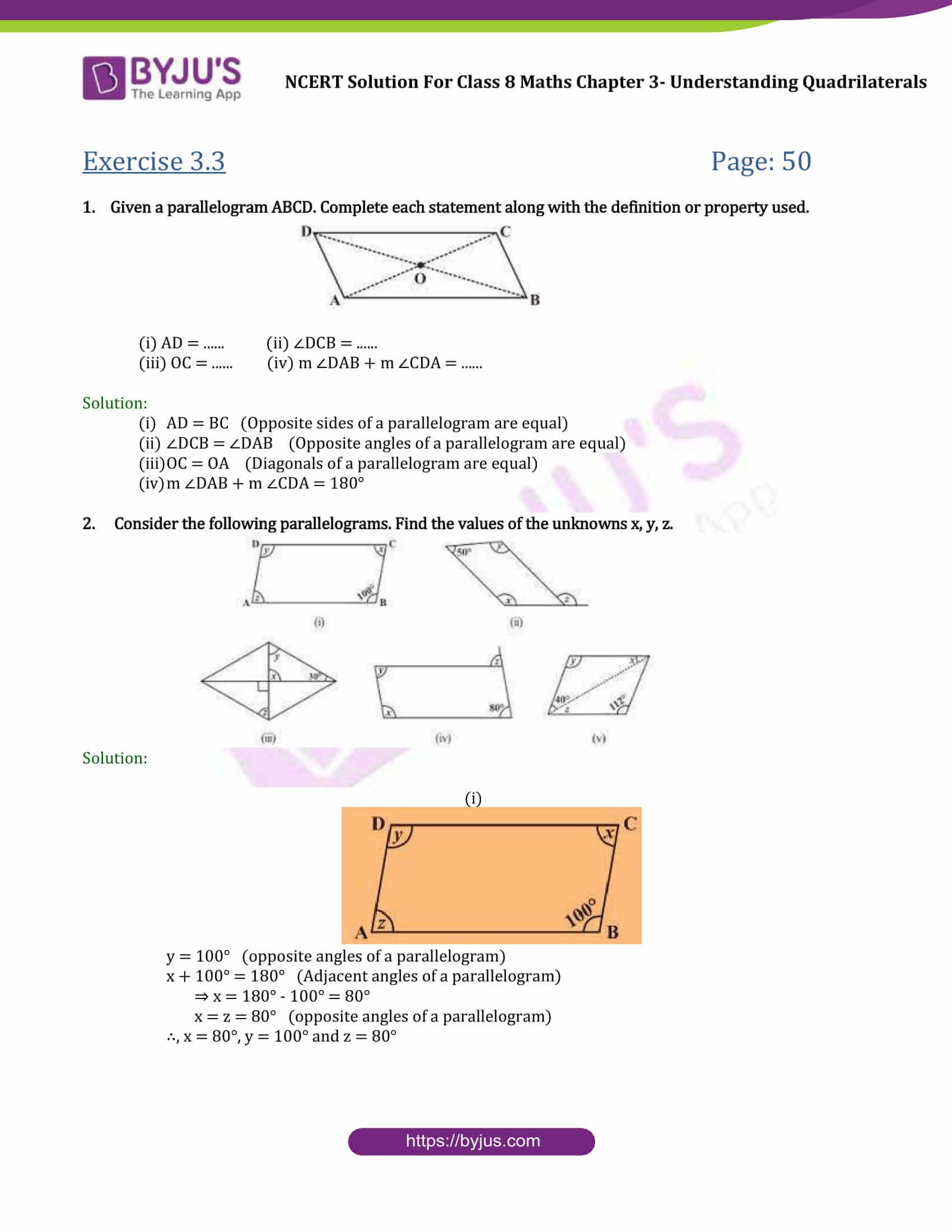 NCERT Solutions for Class 8 Maths Chapter 3 Understanding