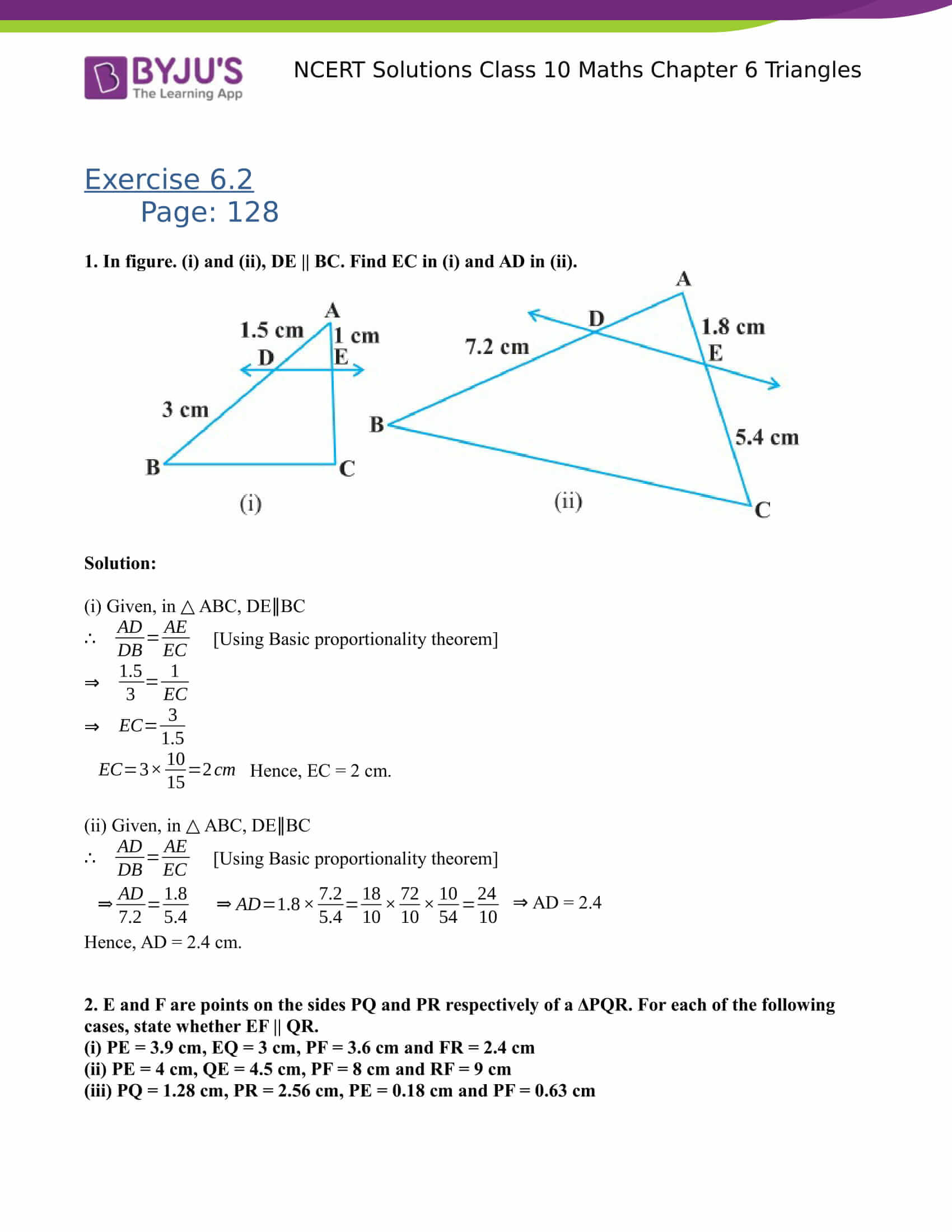 NCERT Solutions for class 10 Maths Chapter 6 Triangles Part 3